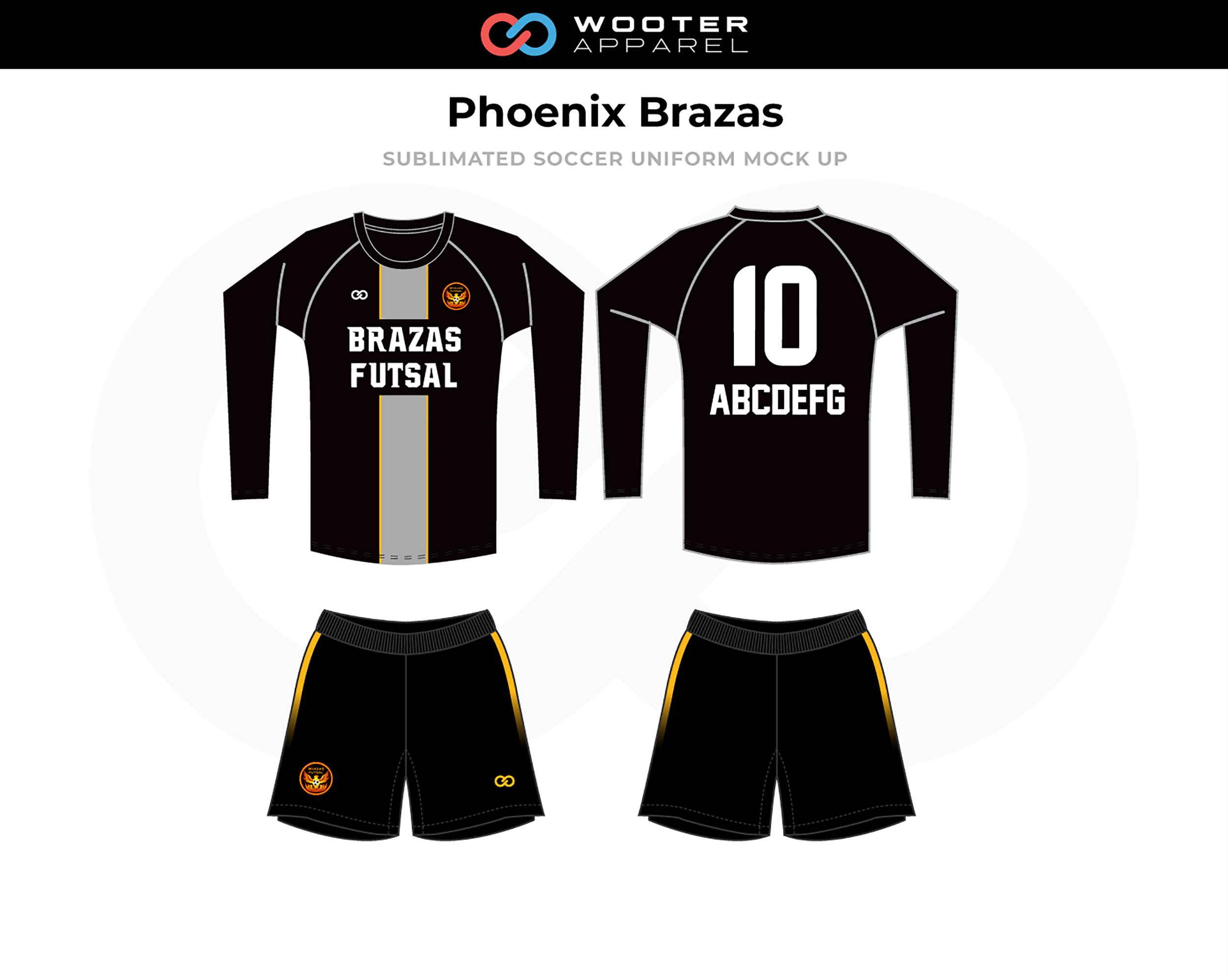 PHOENIX BRAZAS Black White Gray Soccer Uniforms, Long-Sleeved Jersey, and Shorts