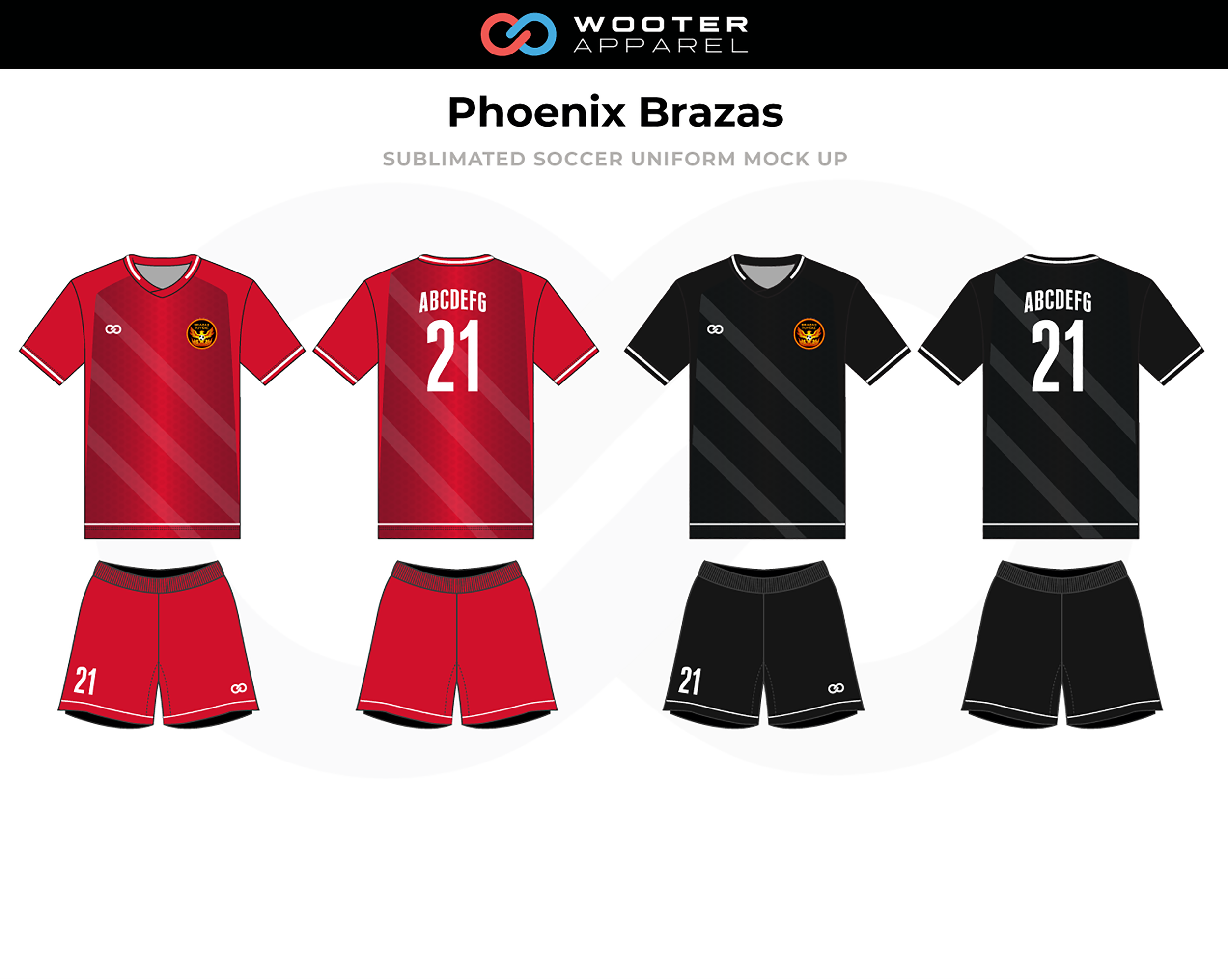 PHOENIX BRAZAS Red Black White Soccer Uniforms, Jerseys, and Shorts