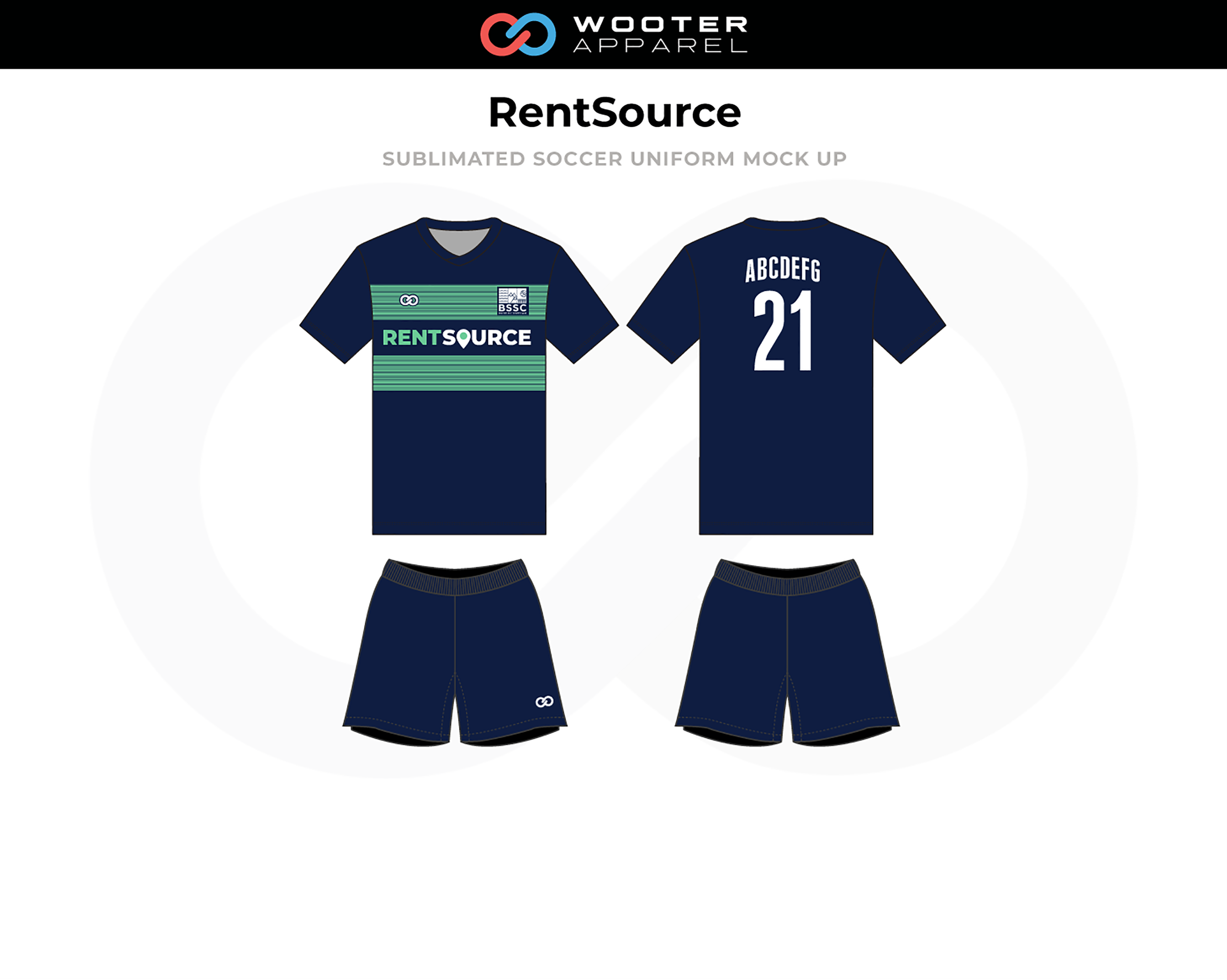 RENTSOURCE Navy Blue Green White Soccer Uniforms, Jerseys, and Shorts