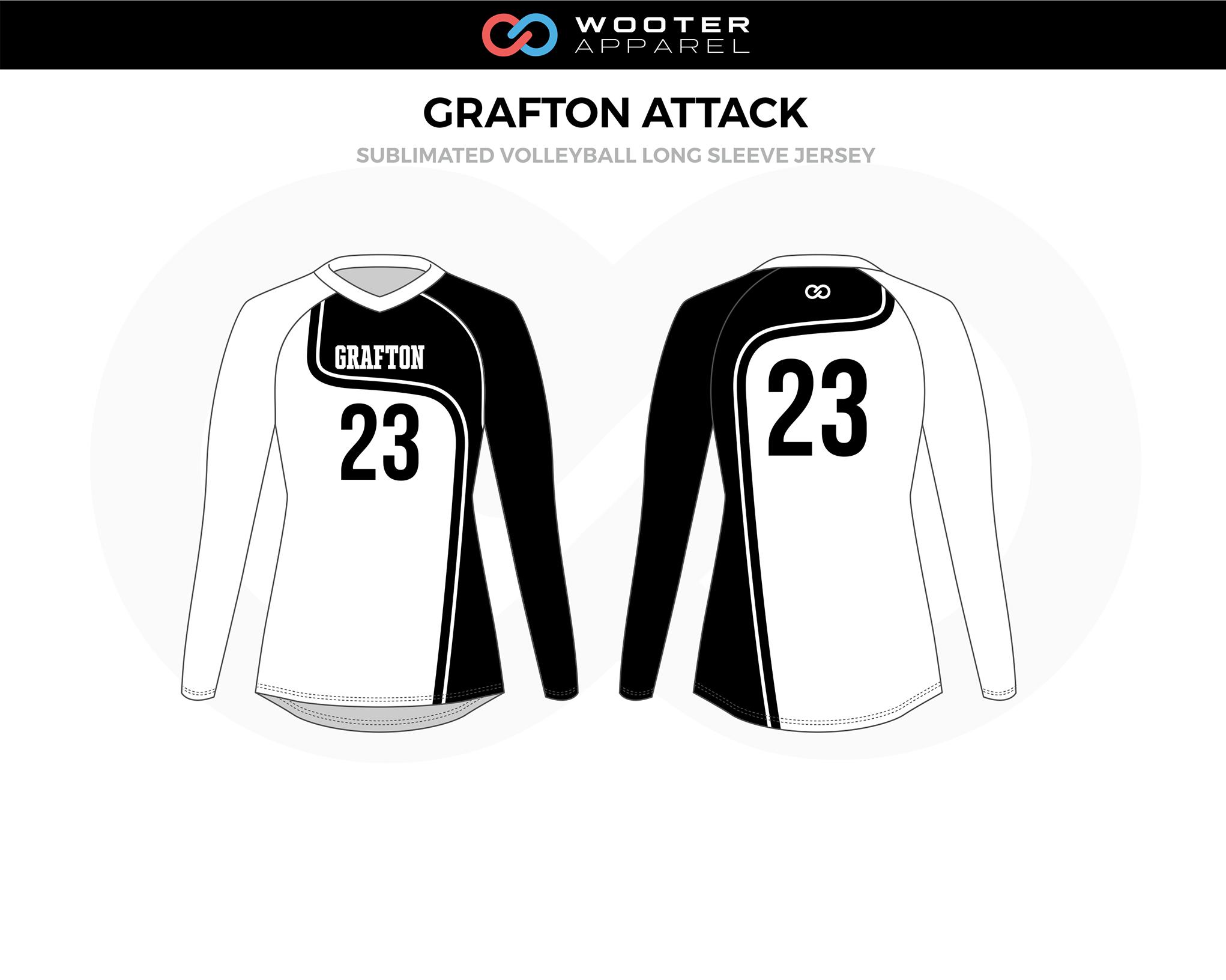 GRAFTON ATTACK Black White Volleyball Long Sleeve Jersey
