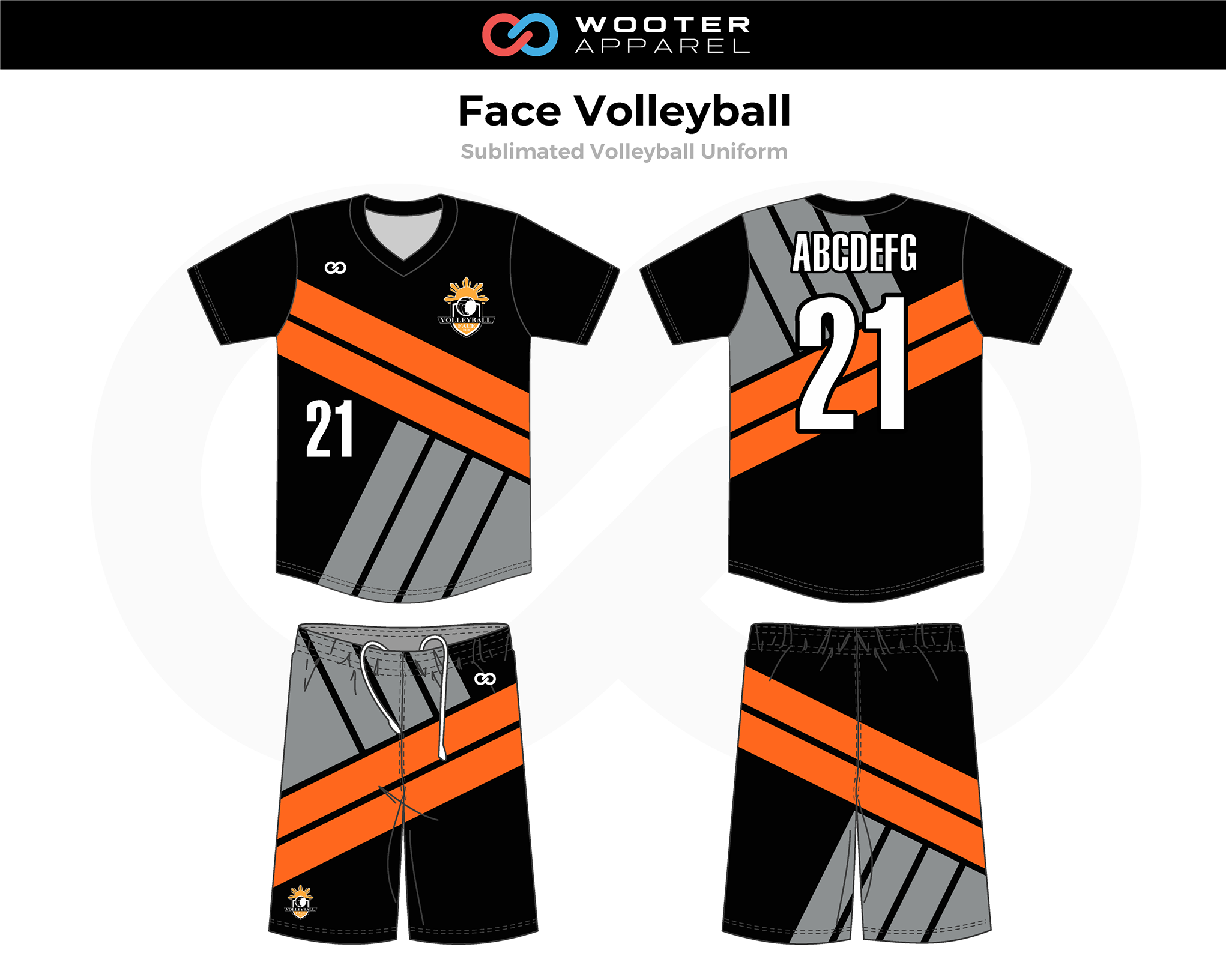 FACE Black Orange Gray White Volleyball Uniforms, Jerseys, and Shorts