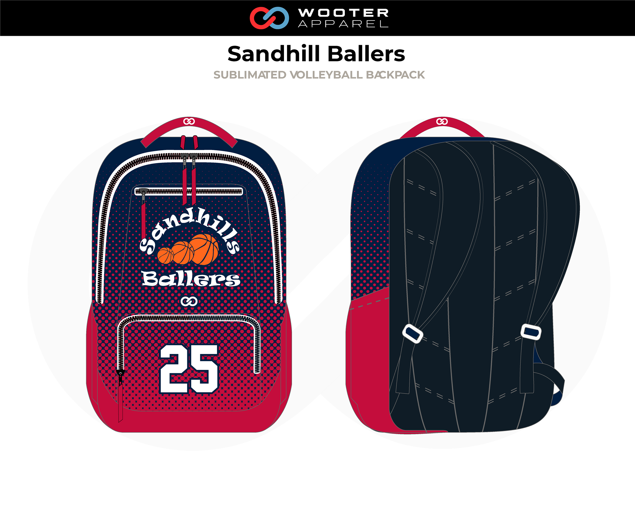SANDHILL BALLERS Red Black White Orange Custom Volleyball Backpack