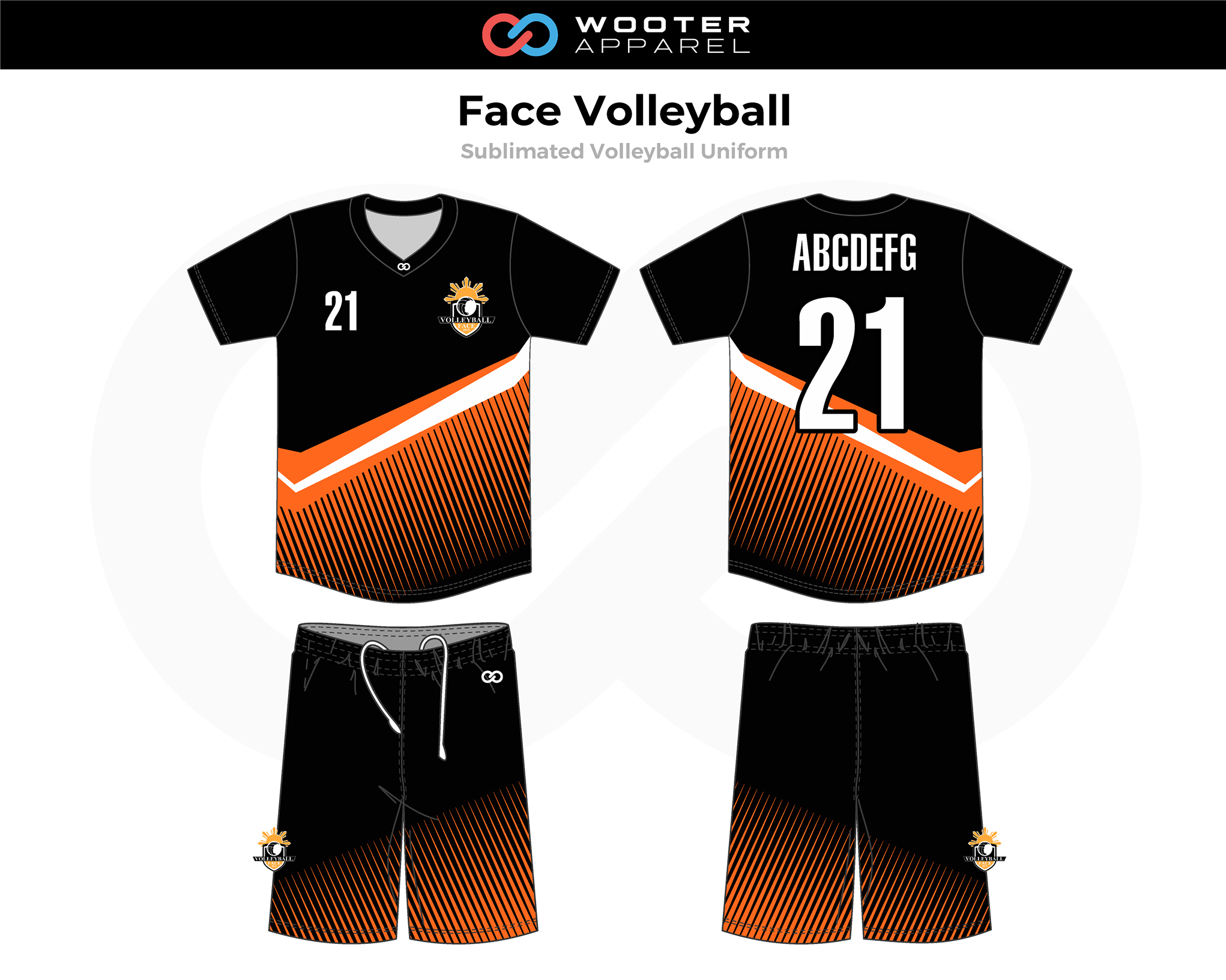 FACE Black Orange White Volleyball Uniforms, Jerseys, and Shorts