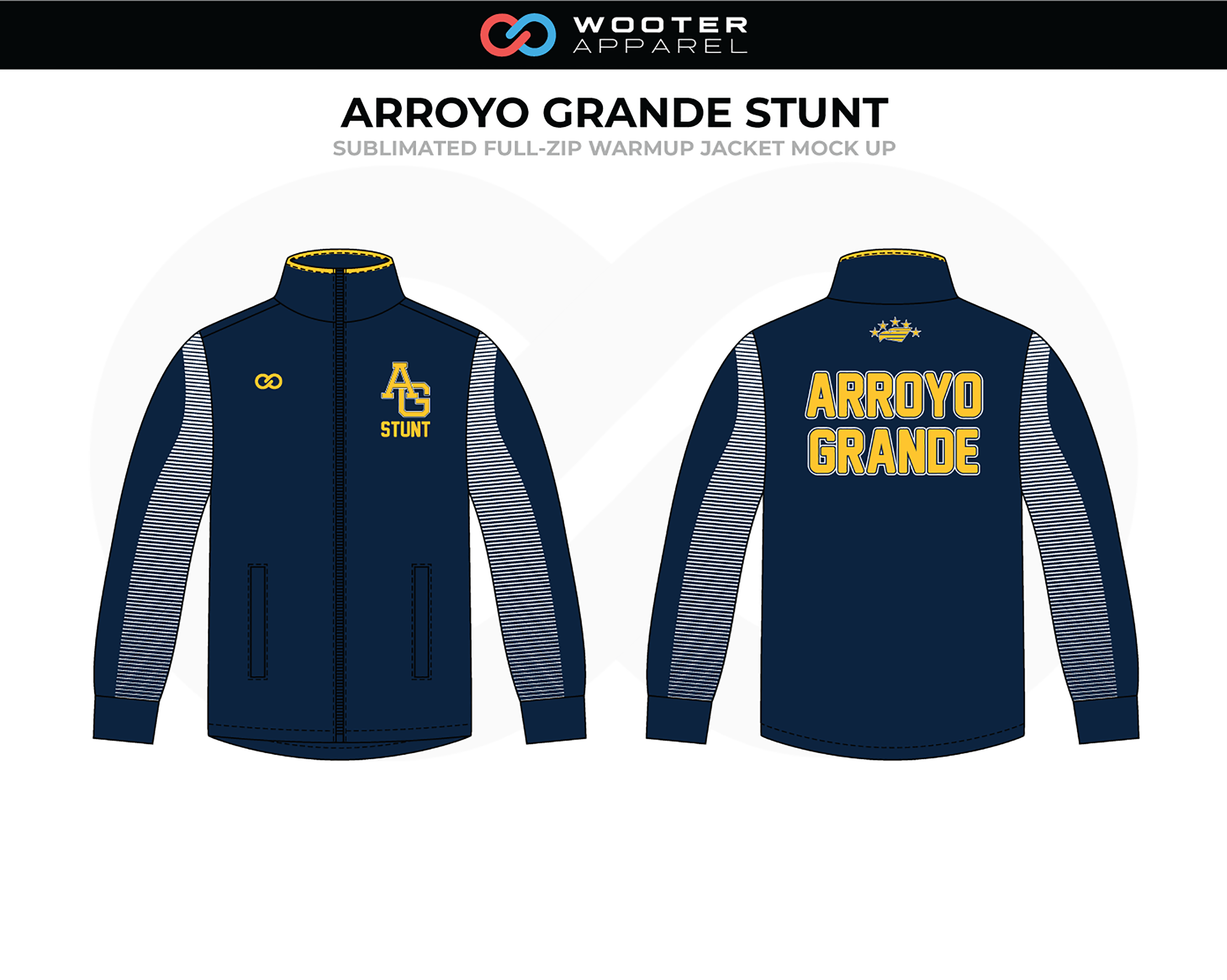 ARROYO GRANDE STUNT Navy Blue Gray Yellow Volleyball  Full-Zip Warm Up Jacket
