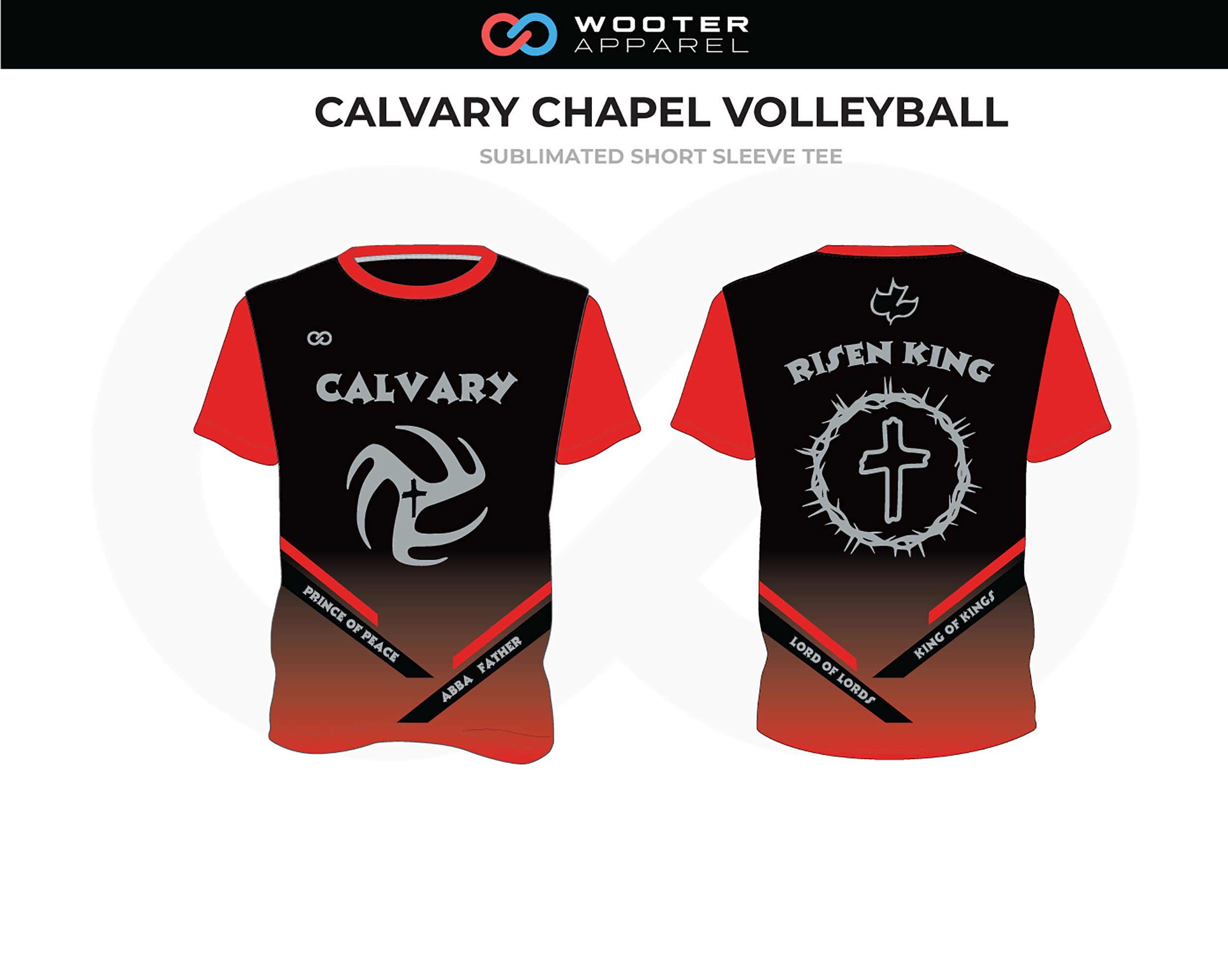 CALVARY CHAPEL Red Black Gray Volleyball Short Sleeve Tee