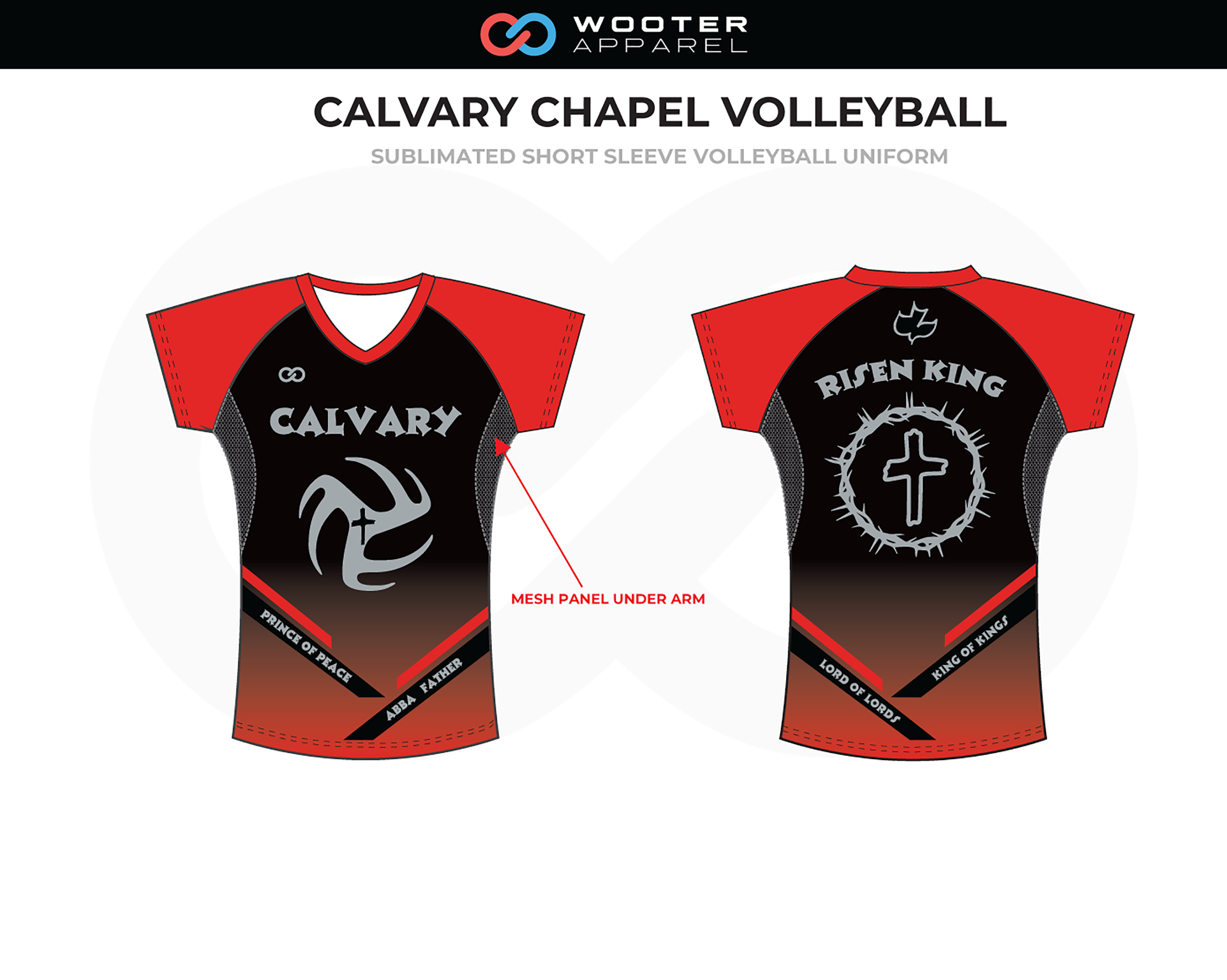 CALVARY CHAPEL Red Black Gray Volleyball Uniform, Short Sleeve Tee