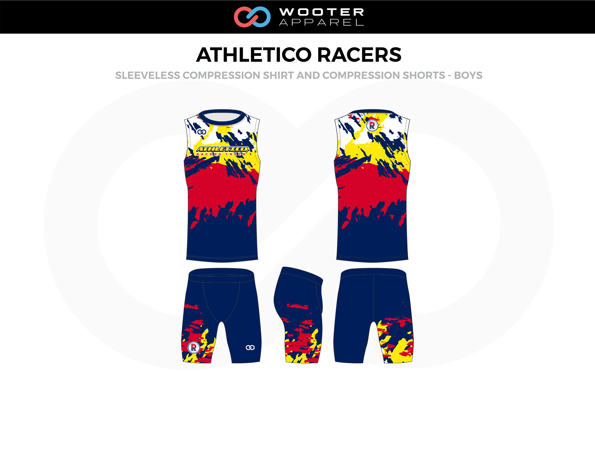 ATHLETICO RACERS Blue Red Yellow Sleeveless Compression Boy Track Uniforms, Jerseys, and Shorts
