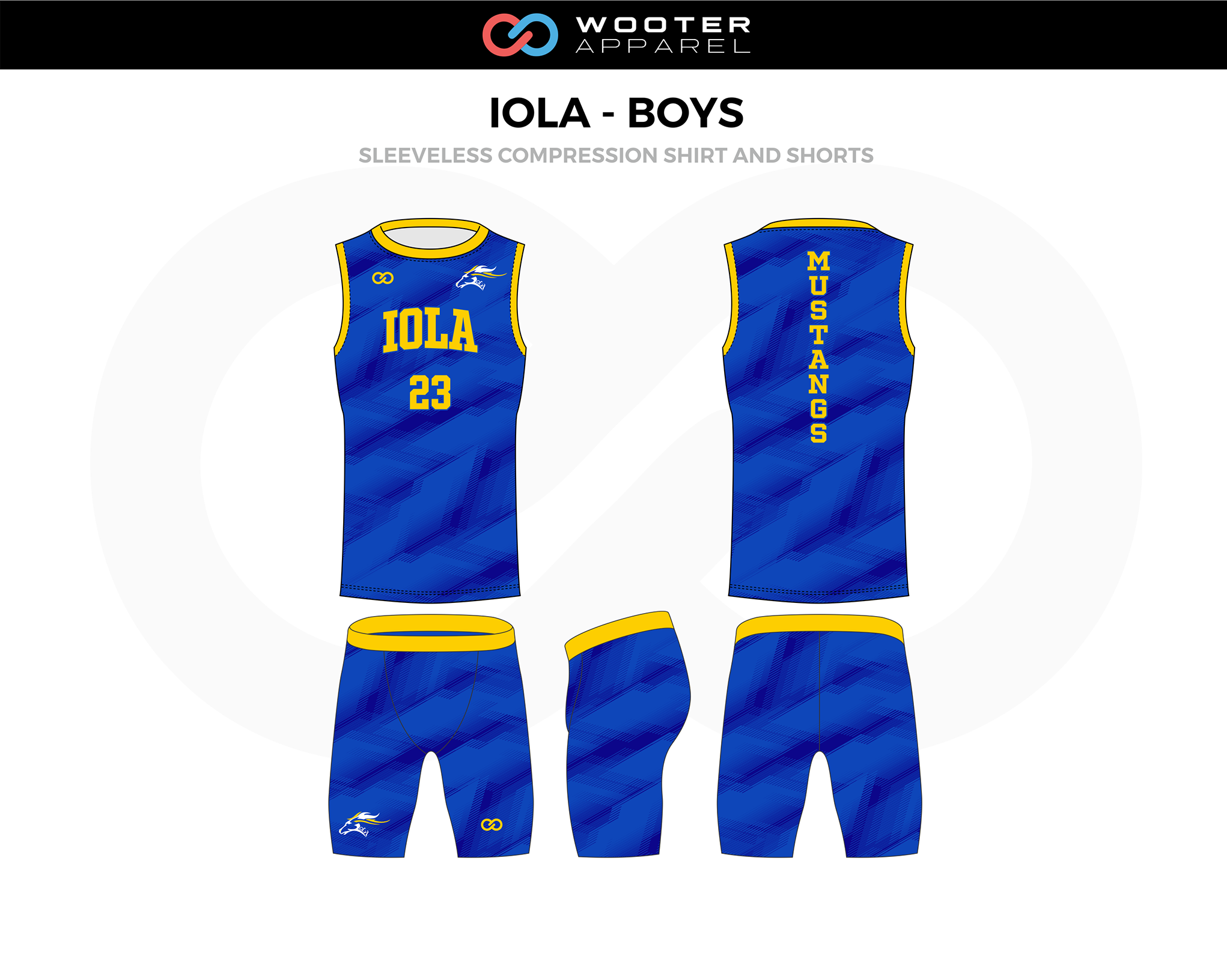 IOLA-BOYS Blue Yellow Sleeveless Compression Track Jerseys, and Shorts
