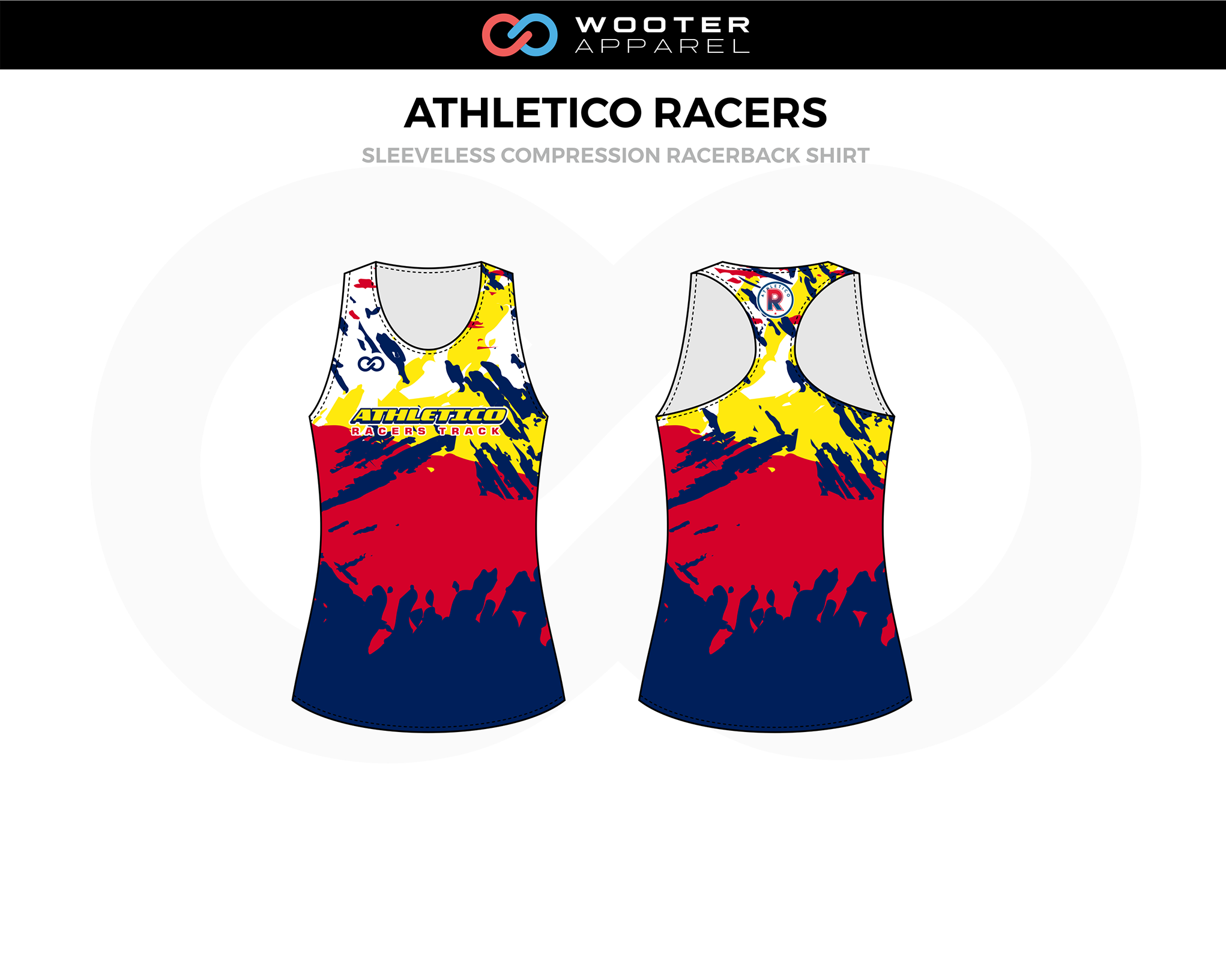 ATHLETICO RACERS Blue Red Yellow Sleeveless Compression Racerback Jersey