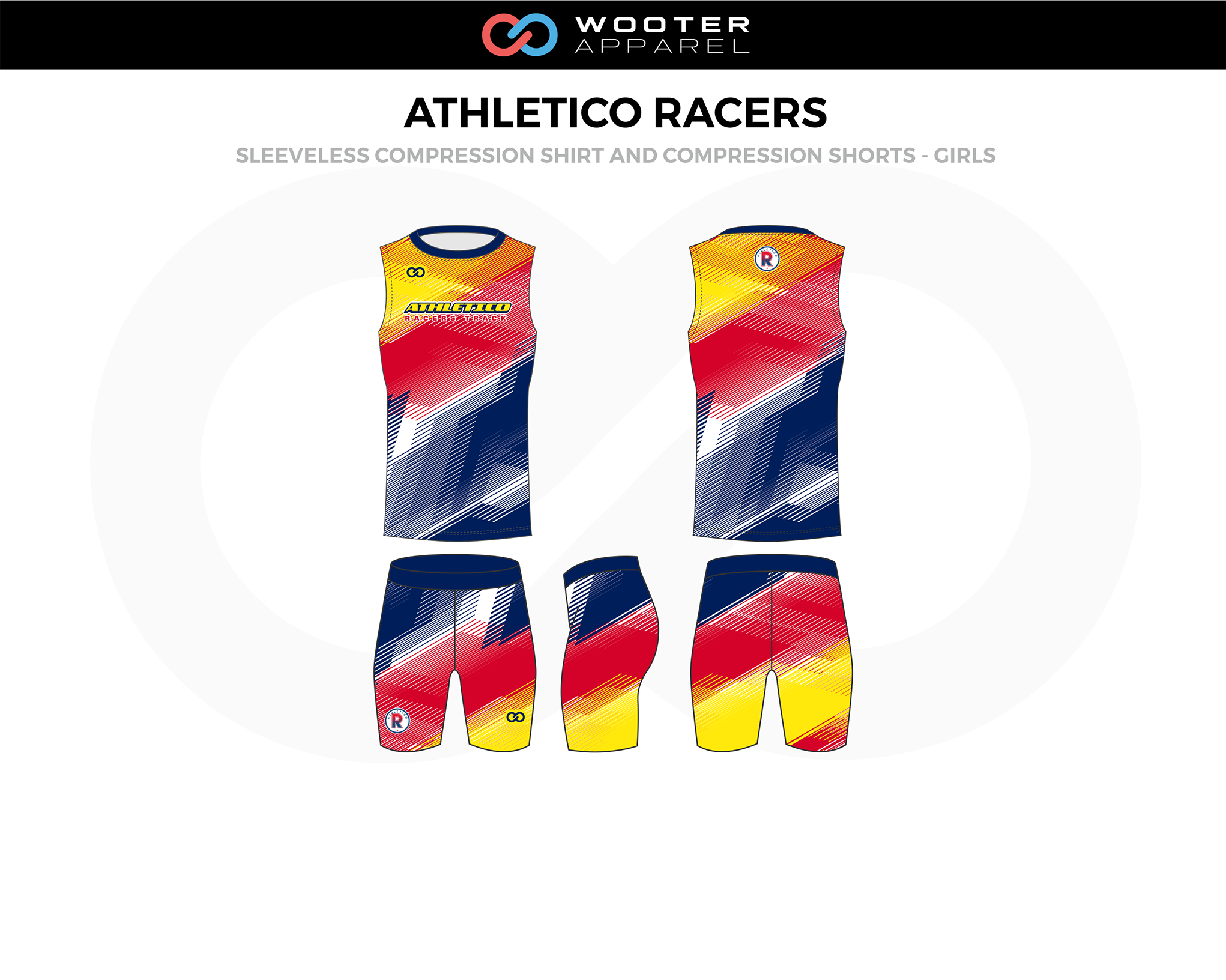 ATHLETICO RACERS Blue Red Yellow Girls Sleeveless Compression Track Jerseys, and Shorts