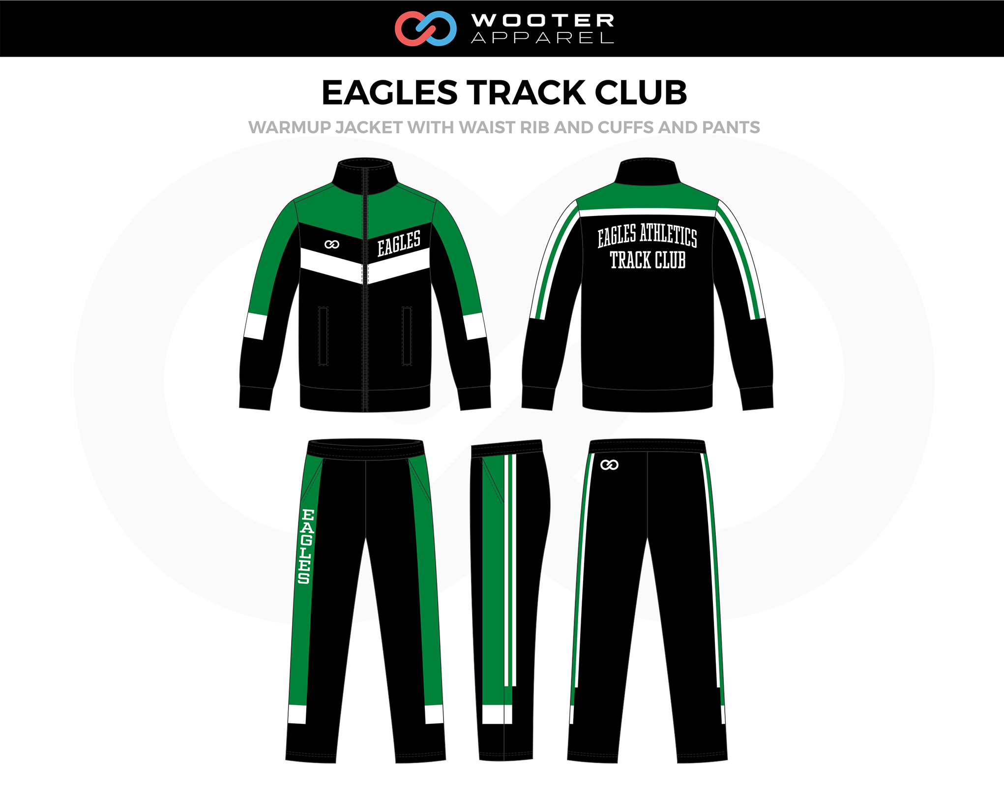 EAGLES TRACK CLUB Black Green White Track Warm Up Jacket with Waist Rib and Cuffs, and Pants