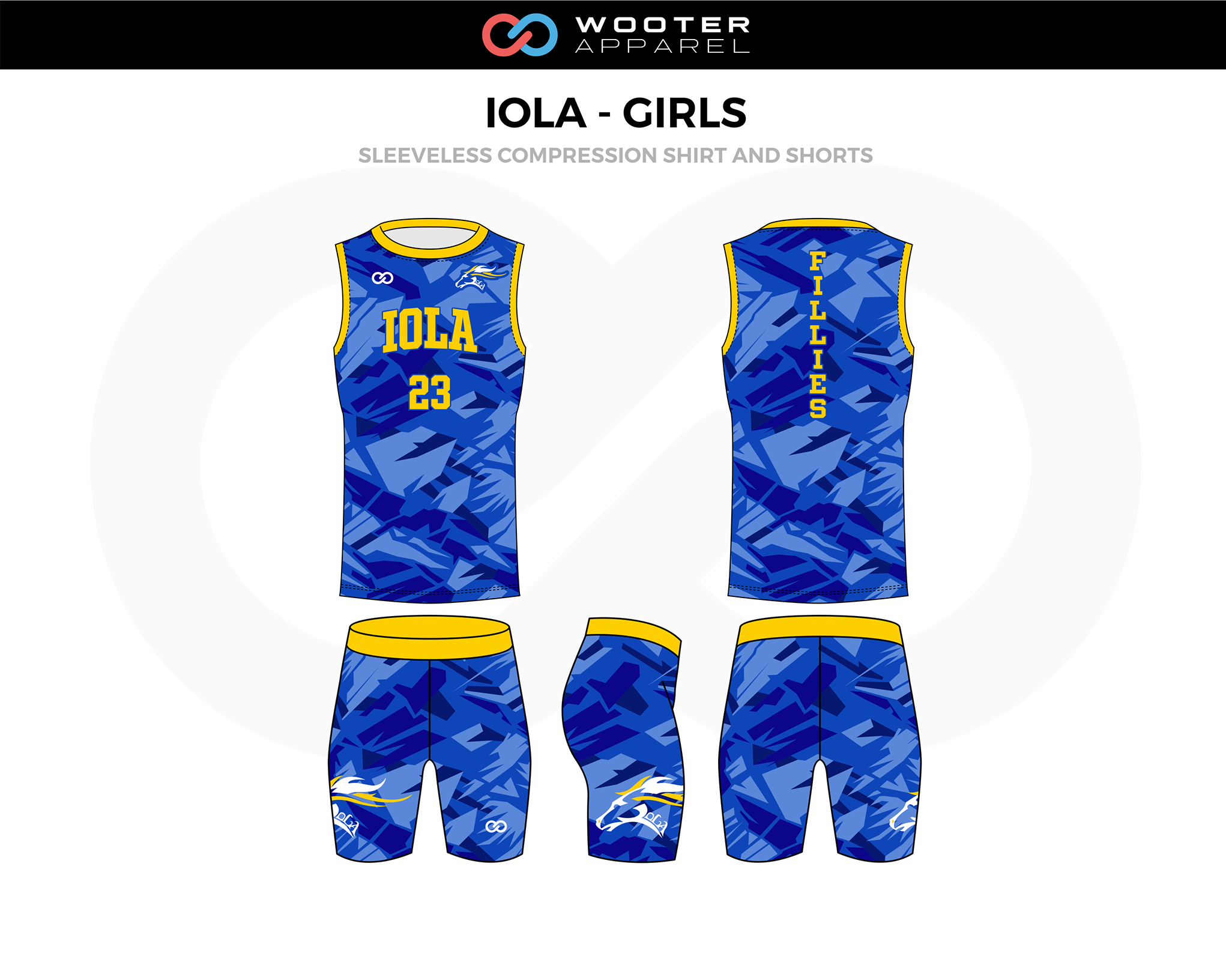 IOLA-GIRLS Blue Yellow Track Sleeveless Compression, Jerseys, and Shorts