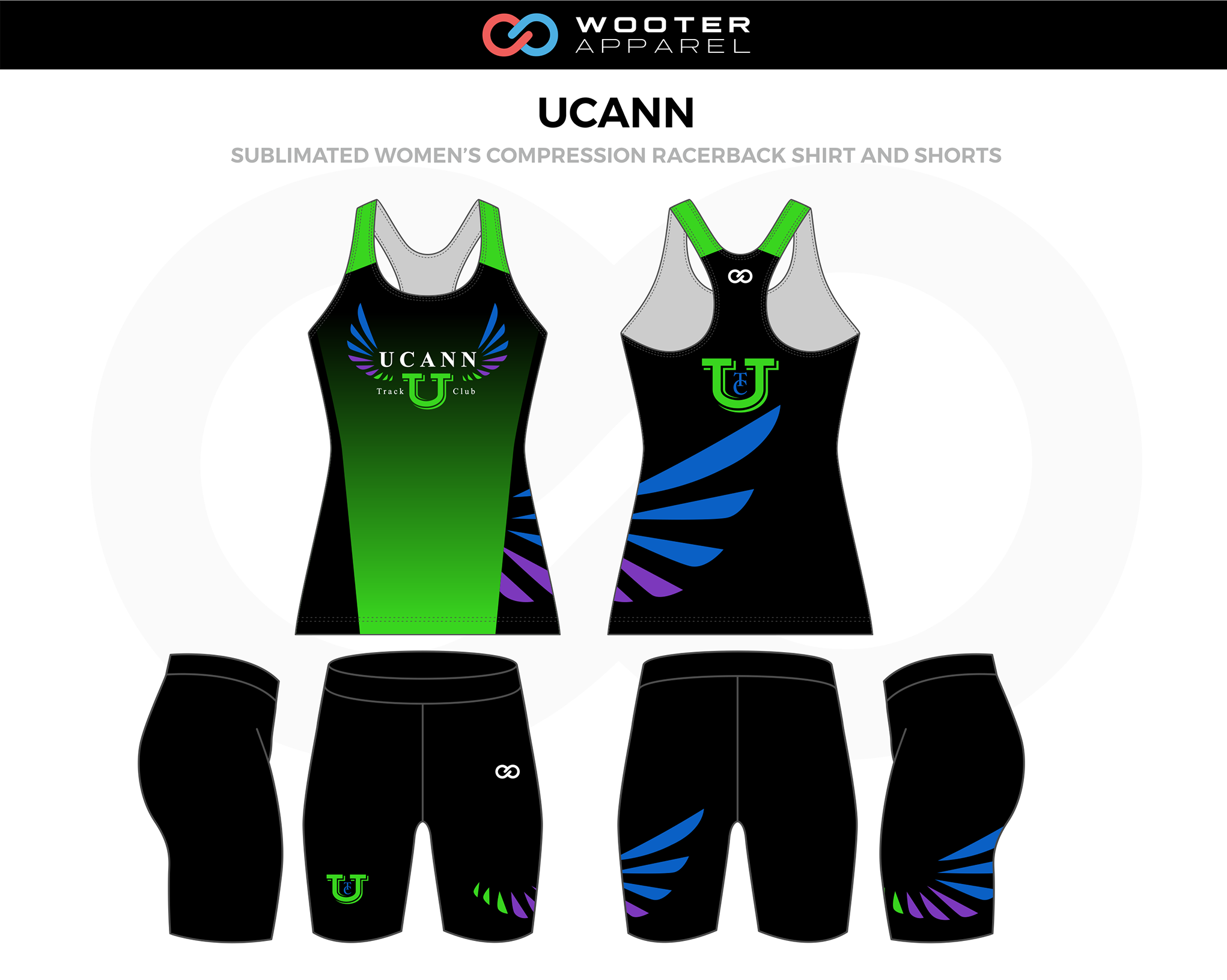 UCANN Black Green Blue Lavender Women's Track Compression Racerback Jerseys, and Shorts