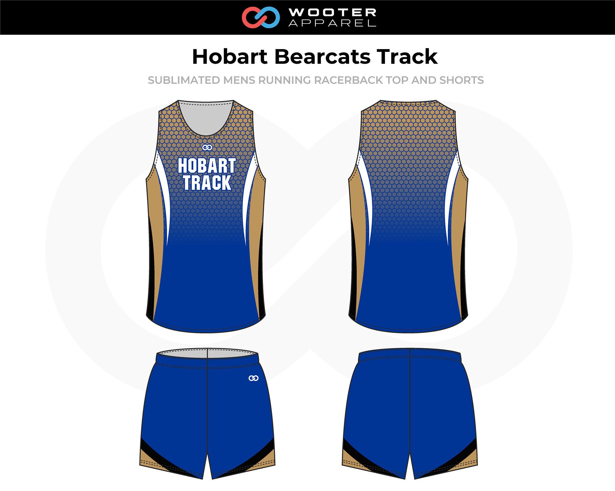 HOBART BEARCATS Blue Beige White Black Men's Track Running Jerseys, and Shorts