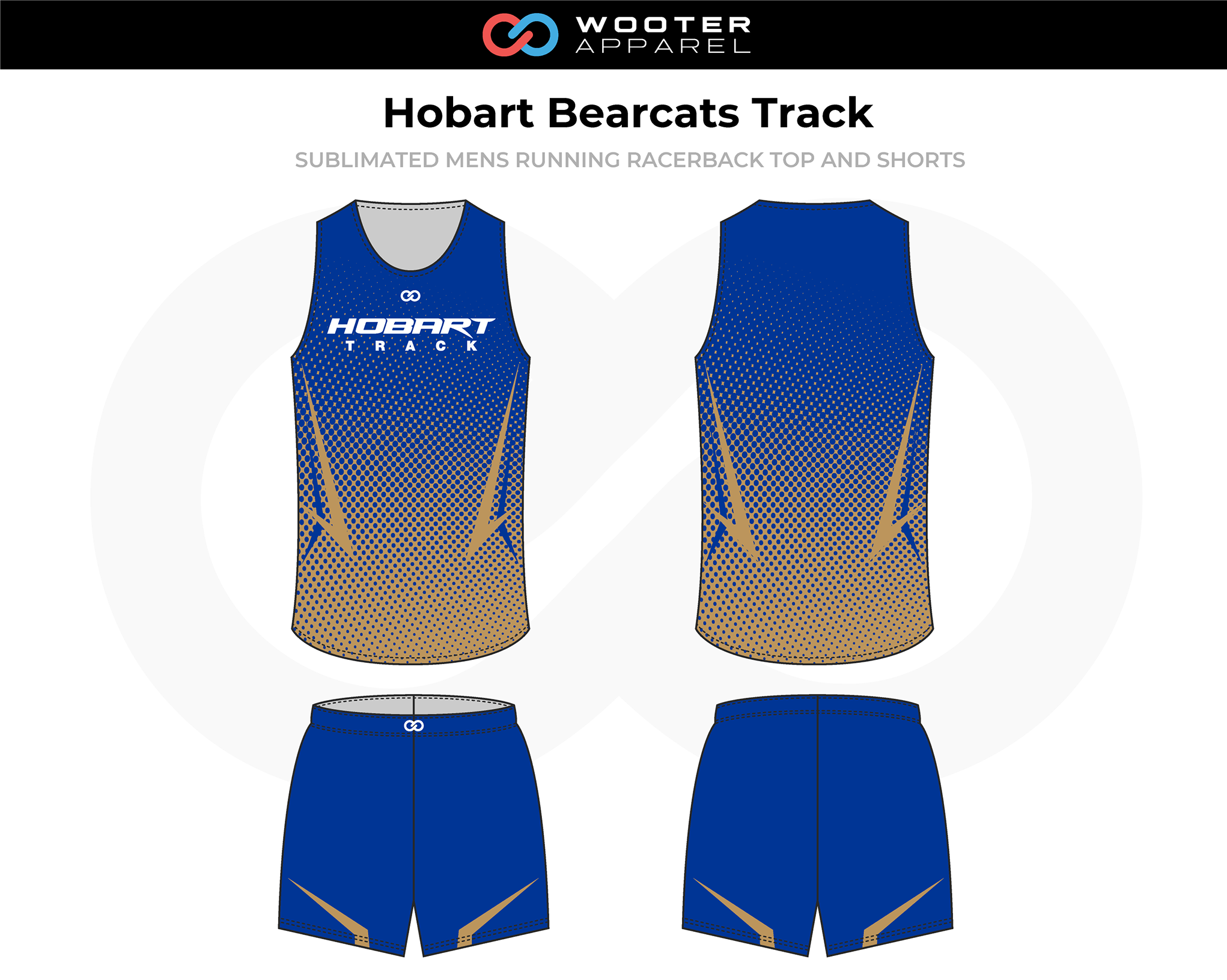 HOBART BEARCATS Blue Beige White Men's Track Running Jerseys, and Shorts