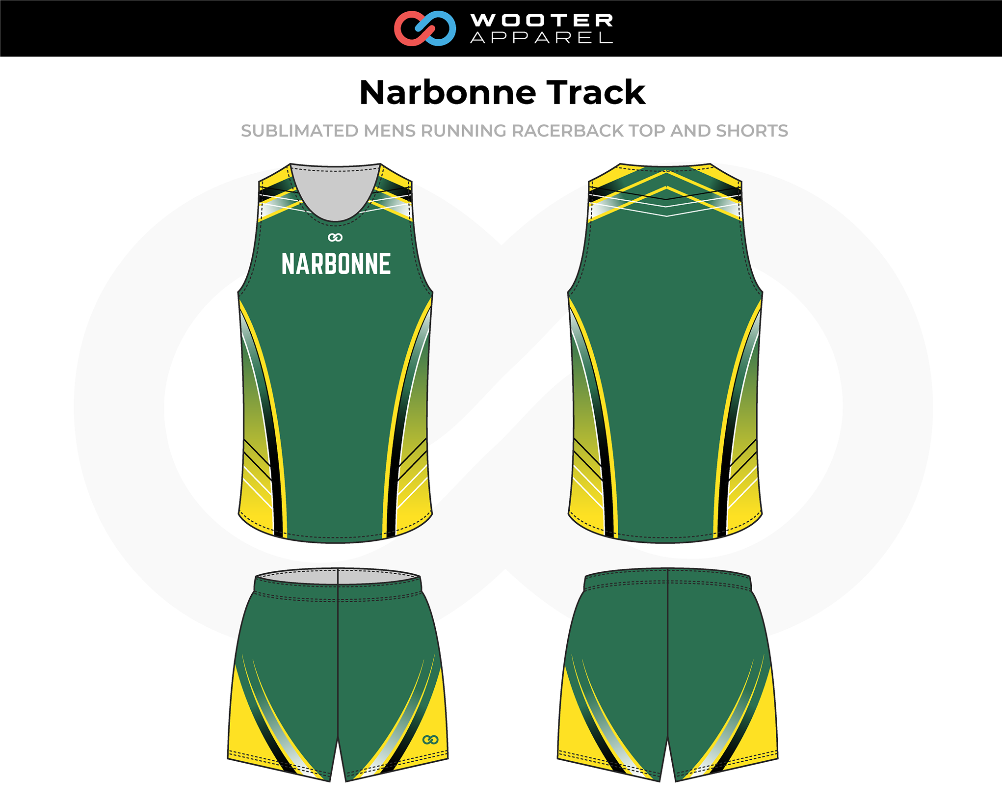 NARBONNE Green Yellow Black Men's Track Uniforms, Racerback Jerseys, and Shorts