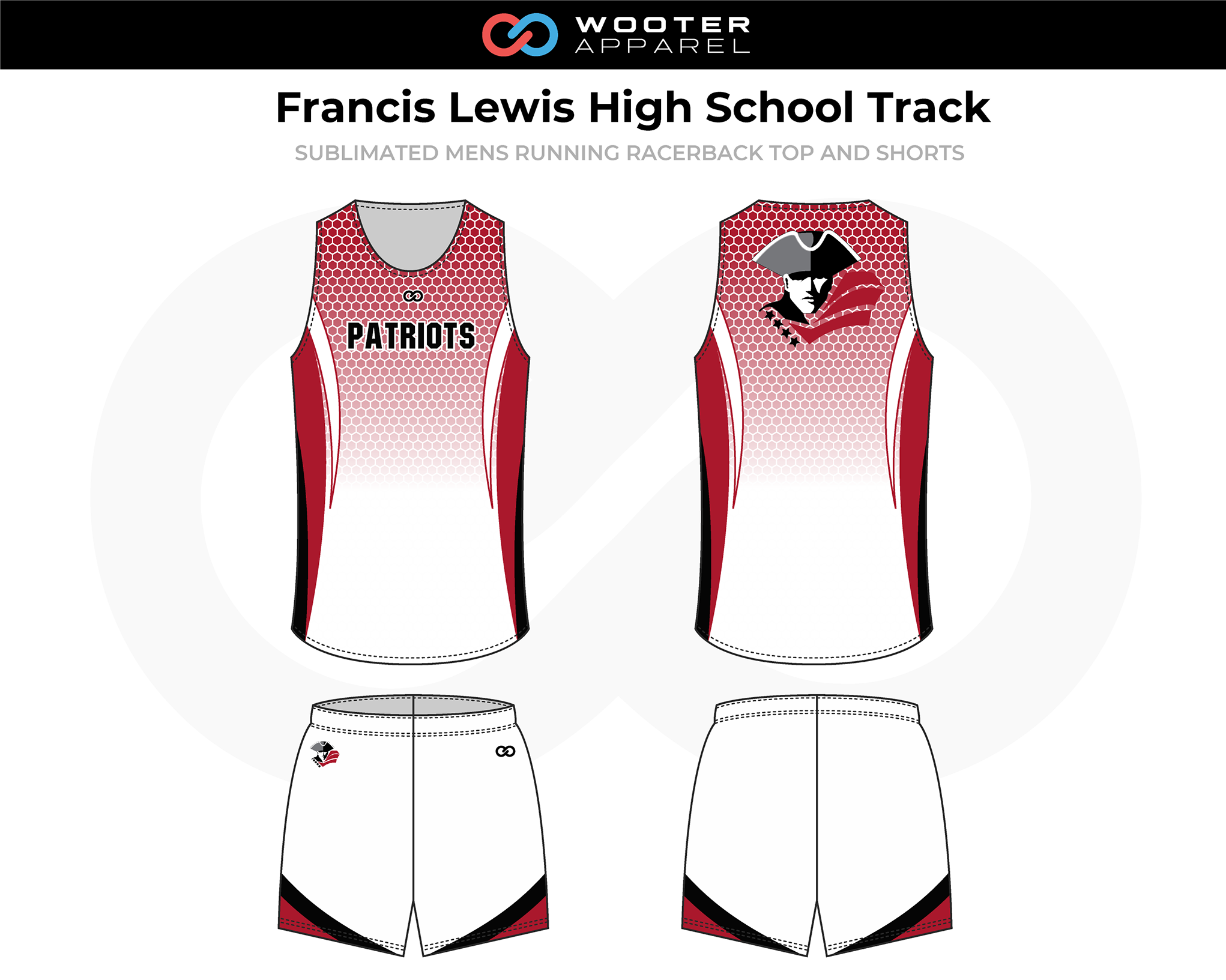 FRANCIS LEWIS HIGH SCHOOL Maroon White Black Men's Track Uniforms, Racerback Jerseys, and Shorts