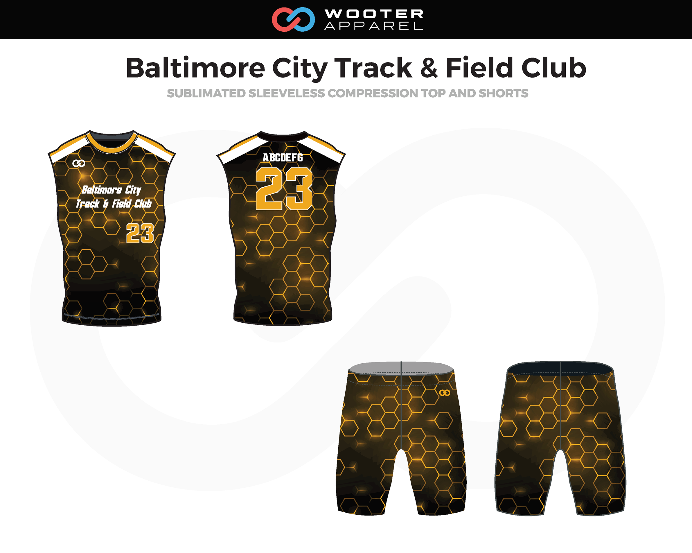 BALTIMORE CITY TRACK & FIELD CLUB Black Yellow White Track Sleeveless Compression Jerseys, and Shorts