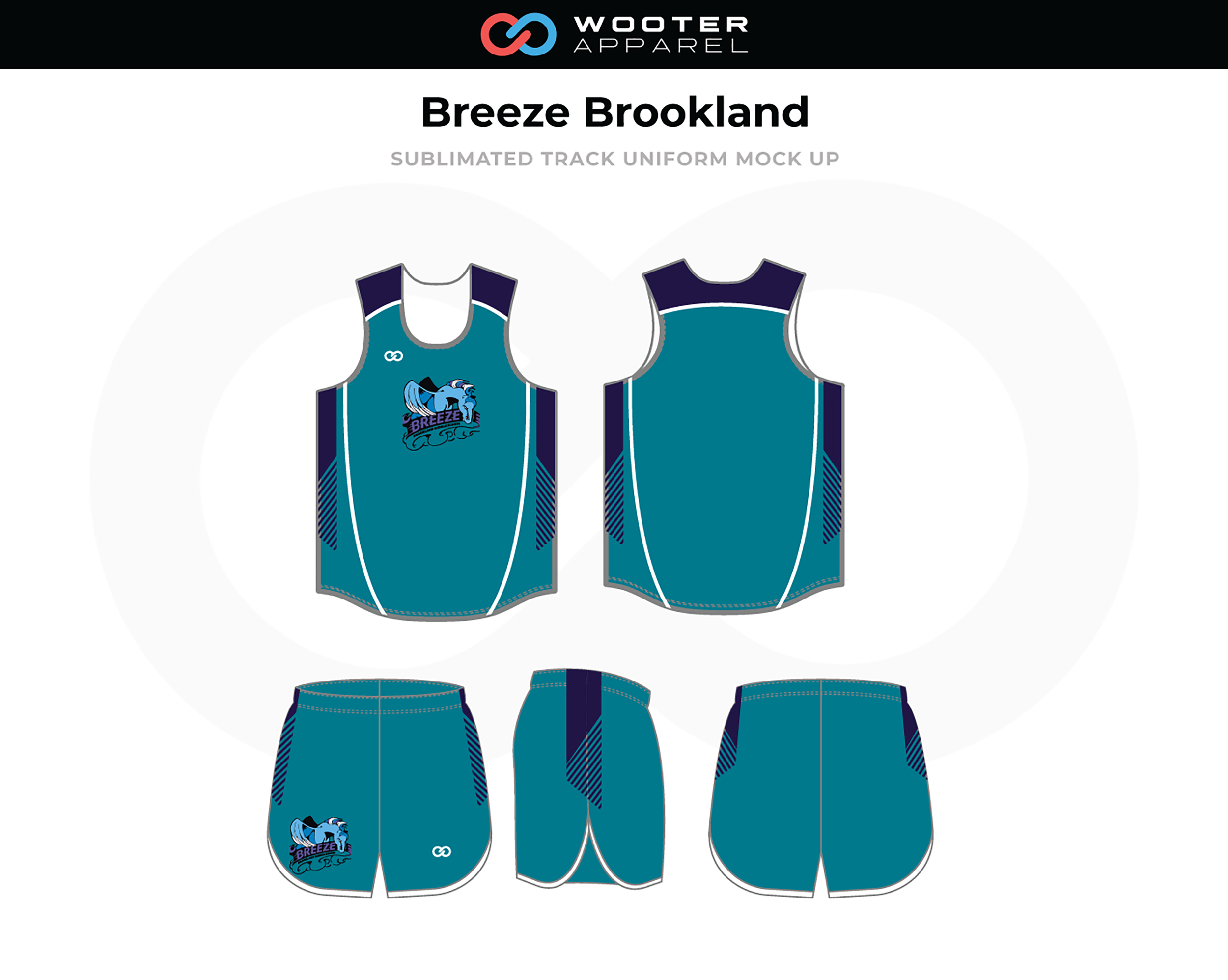 BREEZE BROOKLAND Ocean Blue White Navy Blue Track Uniforms, Jerseys, and Shorts