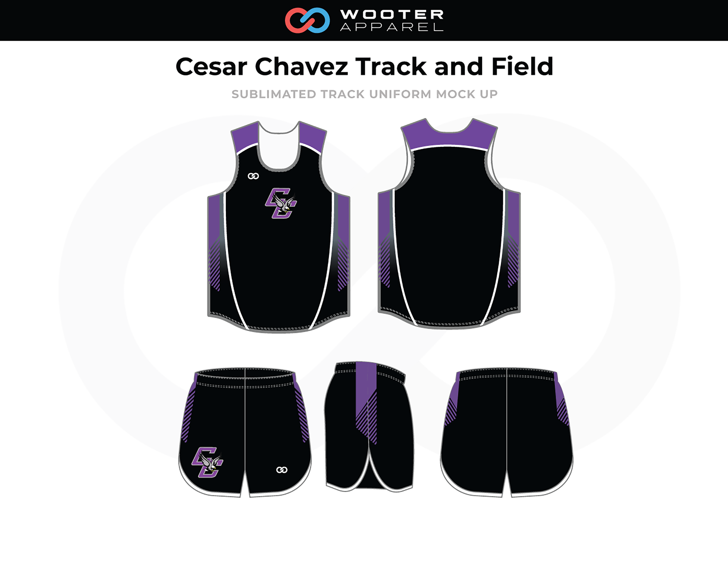 CESAR CHAVEZ TRACK AND FIELD Black Lavender White Track Uniforms, Jerseys, and Shorts