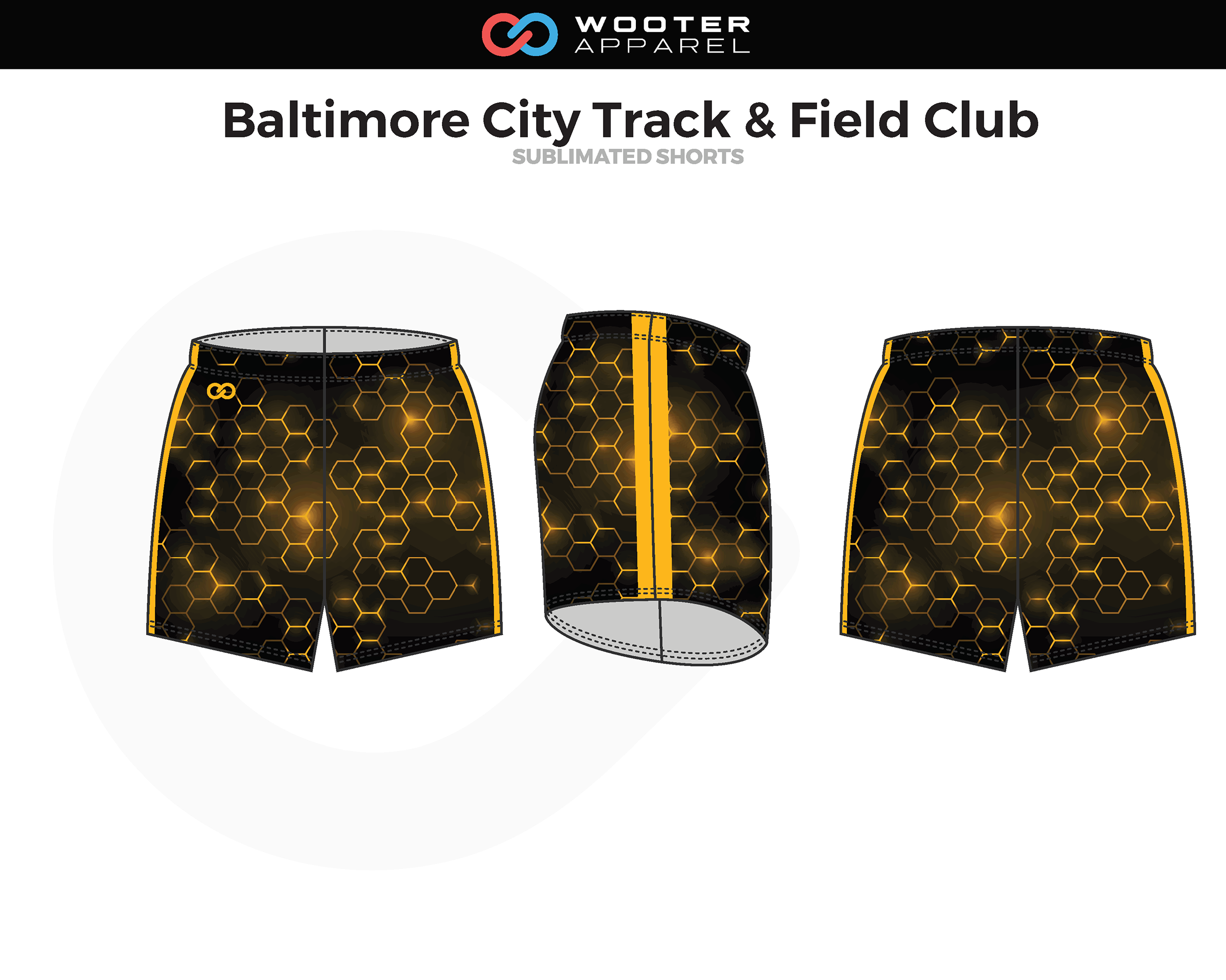 BALTIMORE CITY TRACK & FIELD CLUB Black Yellow Track Shorts
