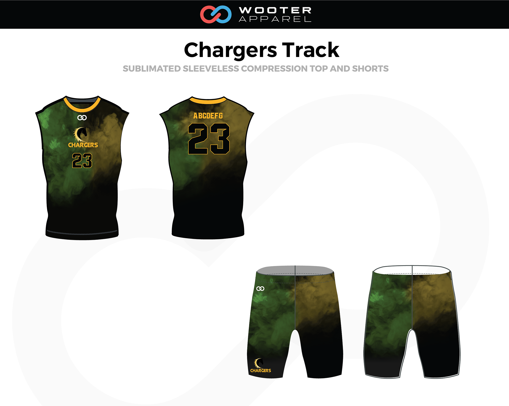 CHARGERS Camouflage Yellow Black Sleeveless Compression Track Uniforms, Jerseys, and Shorts
