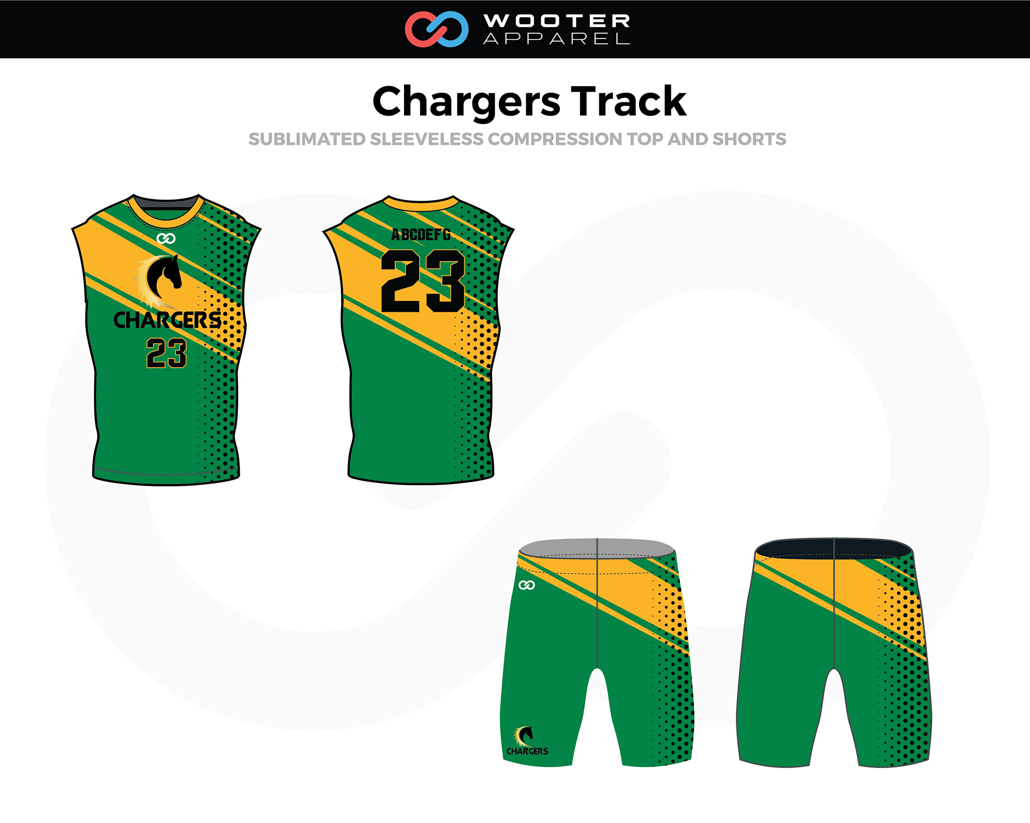 CHARGERS Green Yellow Black Sleeveless Compression Track Uniforms, Jerseys, and Shorts
