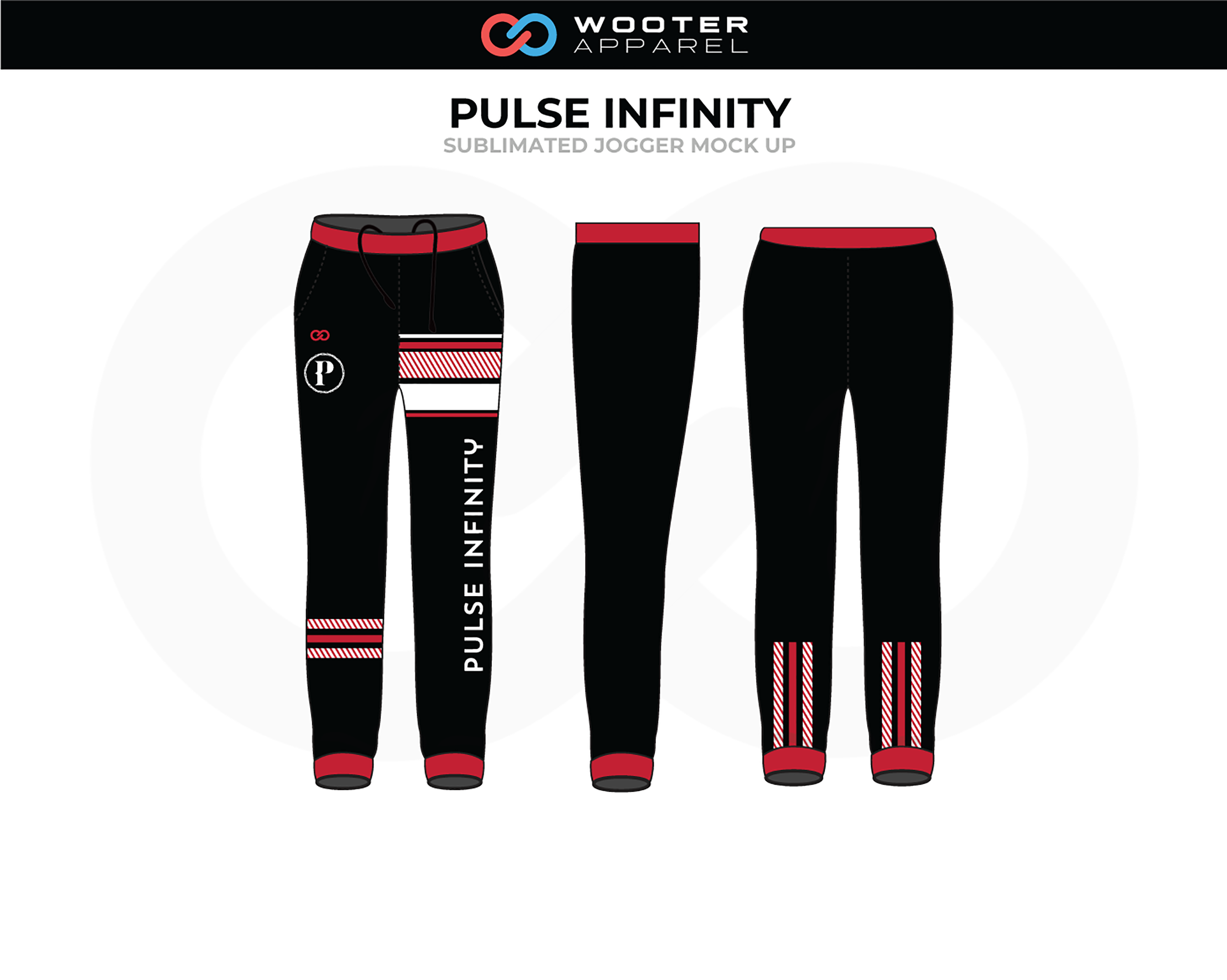 PULSE INFINITY Black Red White Track Jogger