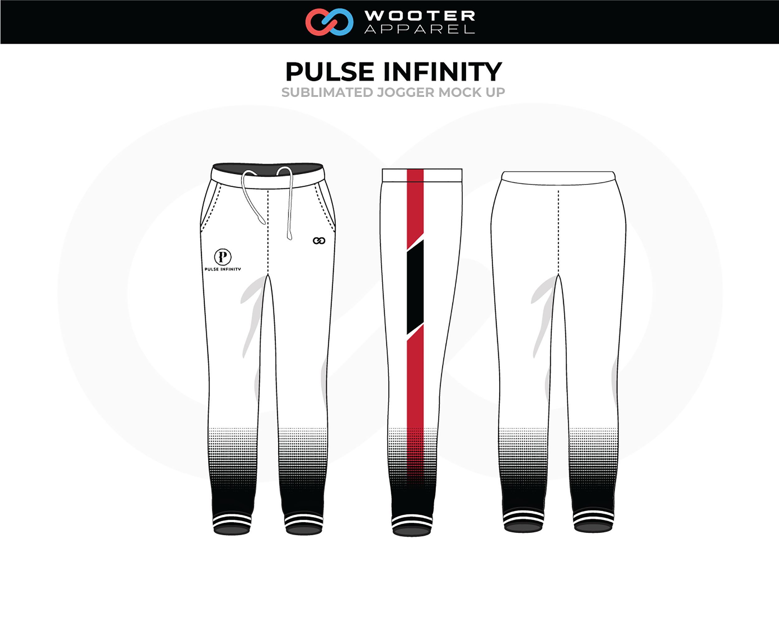 PULSE INFINITY White Black Red Track Jogger