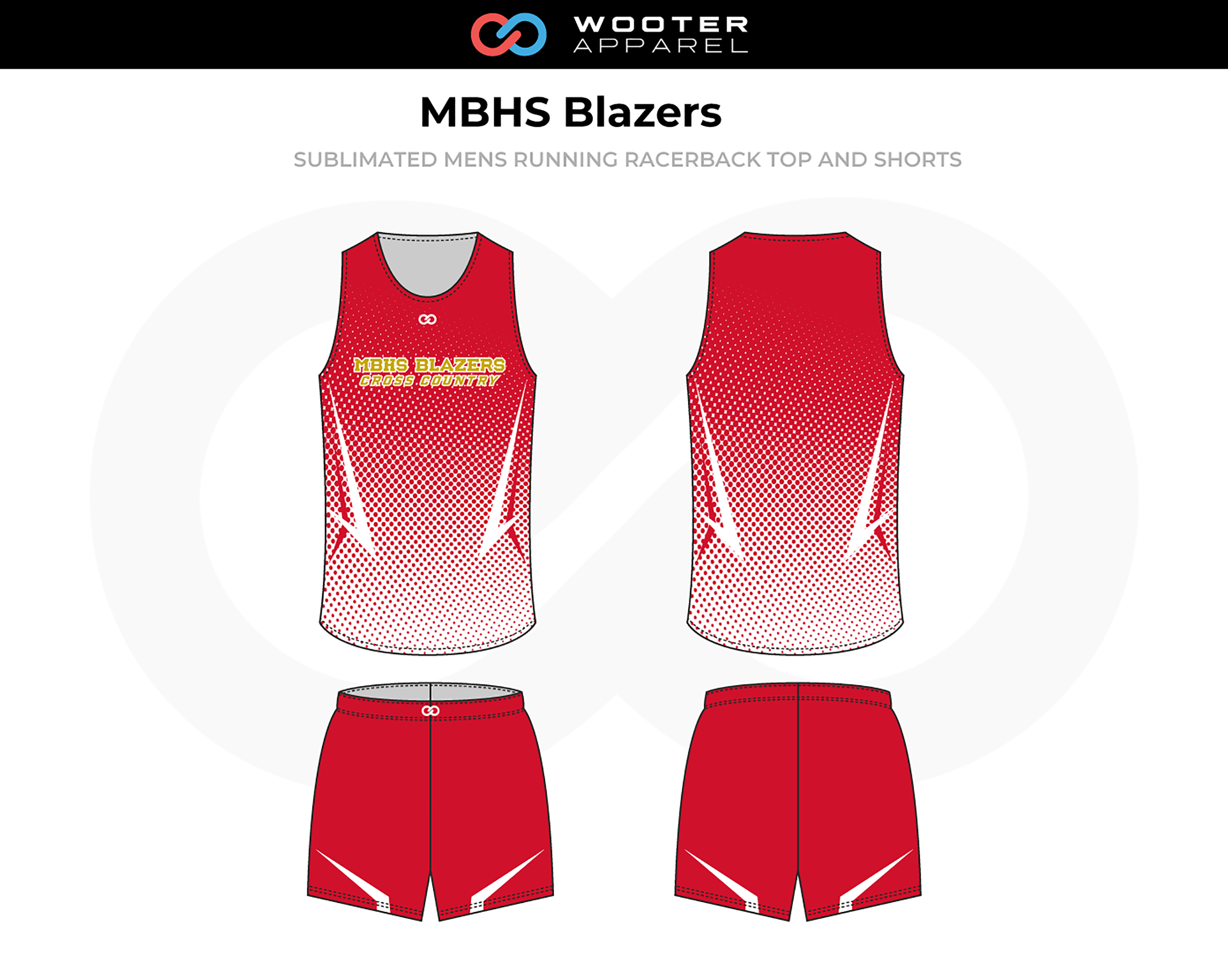 MBHS BLAZERS Red White Men's Track Uniforms, Racerback Jerseys, and Shorts