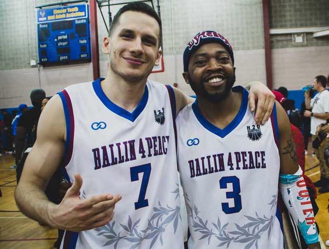 Give And Go: After teaming-up the past two years to collaborate on customized jerseys and uniforms for Ballin' 4 Peace, Haron Hargrave (right) and Wooter Founder and CEO Alex Aleksandrovski (left) unite to release the latest Ballin' 4 Peace jersey for the 5th Annual charity basketball .