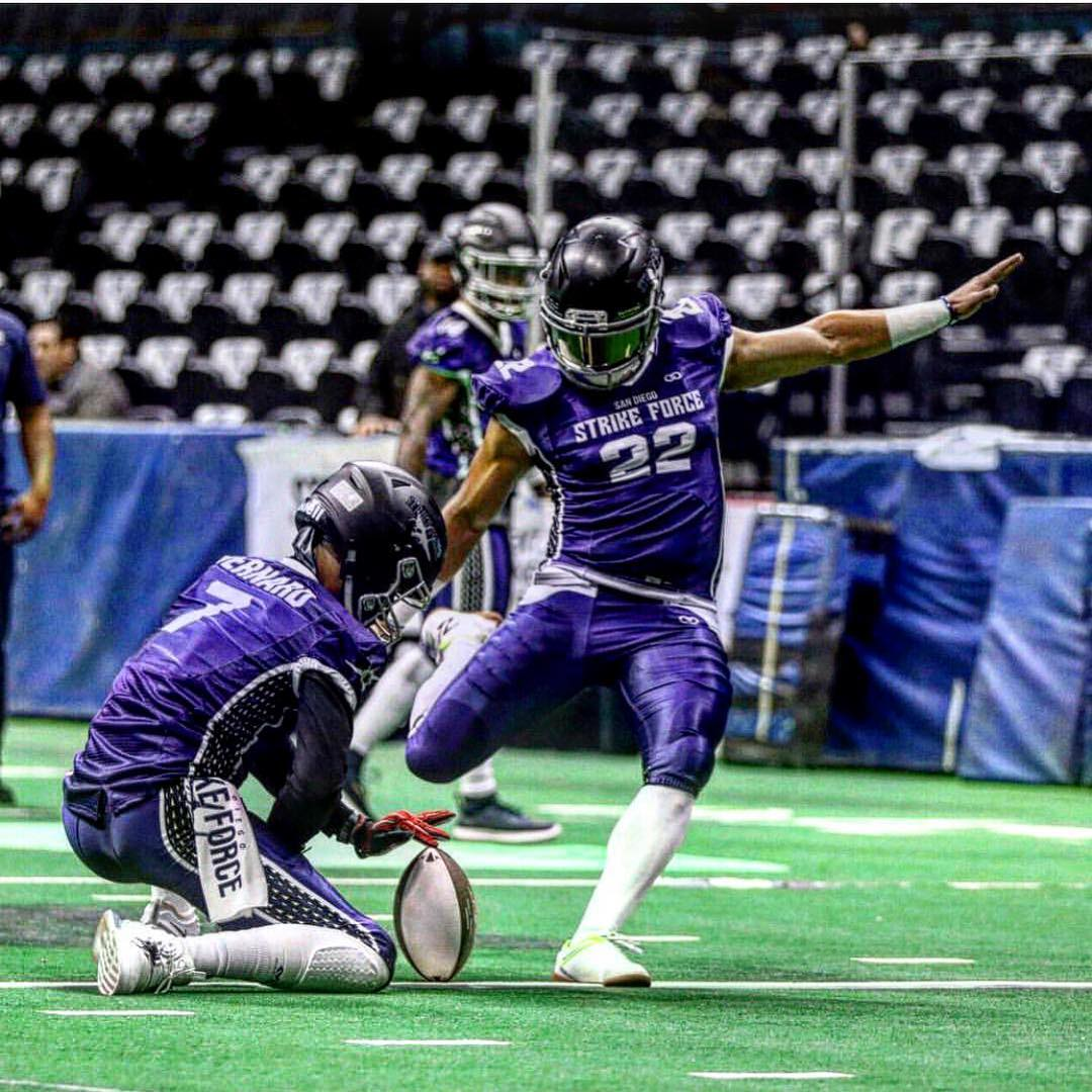 Lacayo Forever: During the 2019 inaugural season, eight-year pro football kicker and punter Ernesto Lacayo once again emerged as a fan favorite and league leader with the San Diego Strike Force of the Indoor Football League.