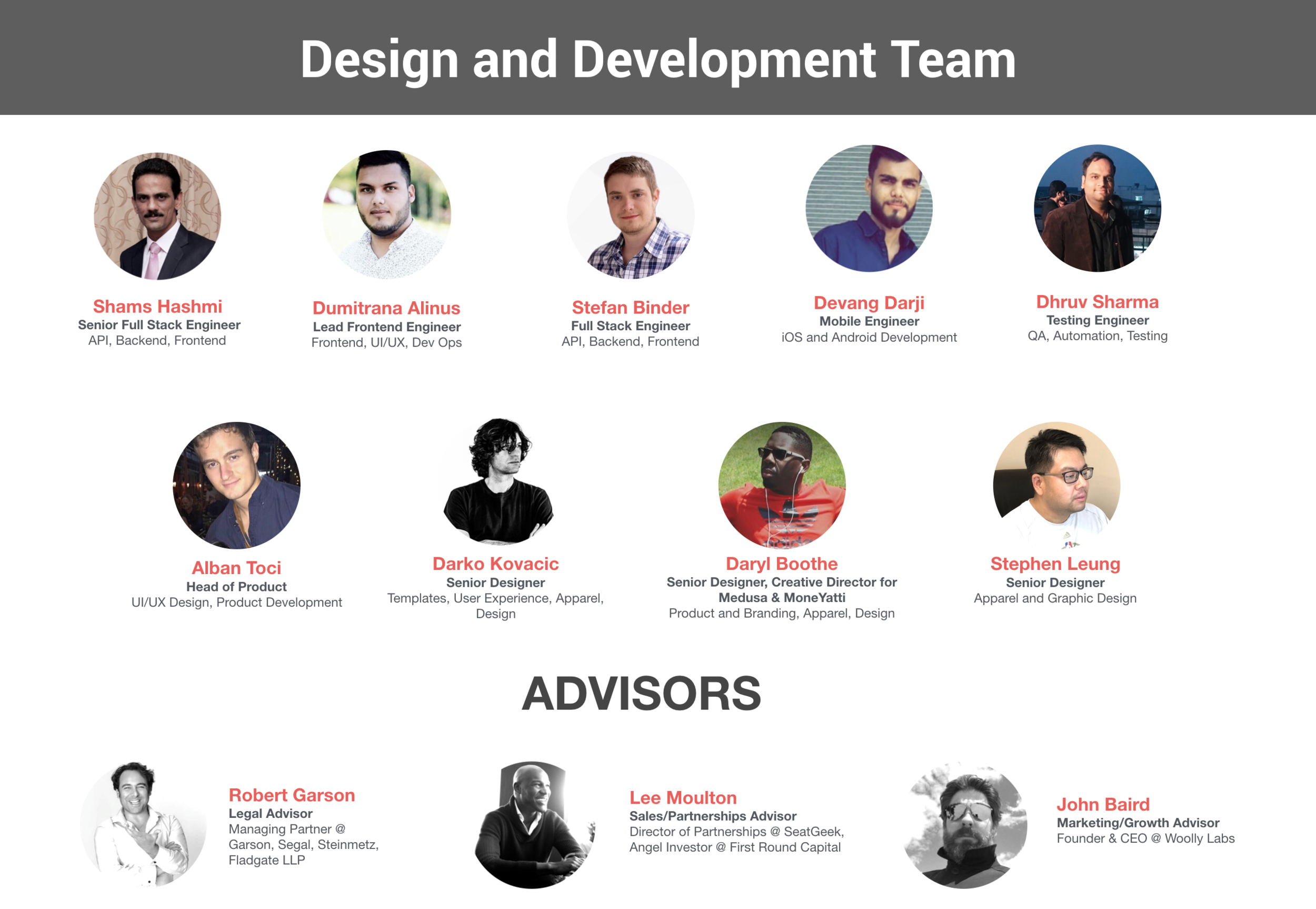 Wooter tech and design team and advisors