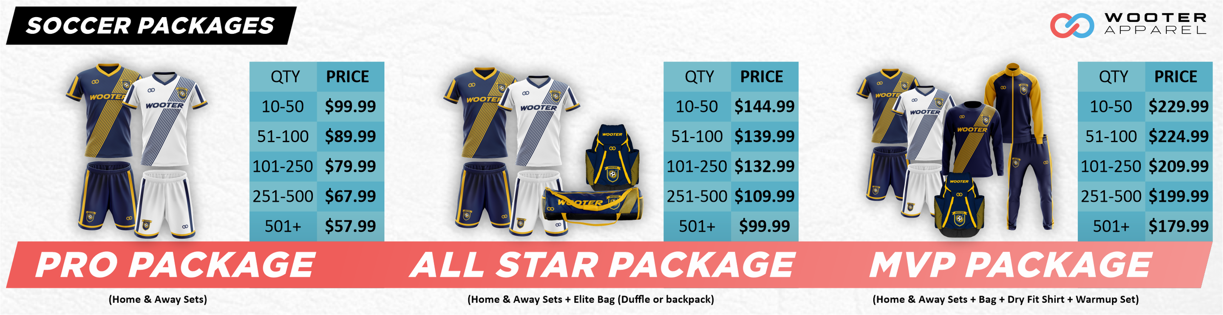 Wooter Apparel Soccer Kits, Packages, Jerseys, Uniforms