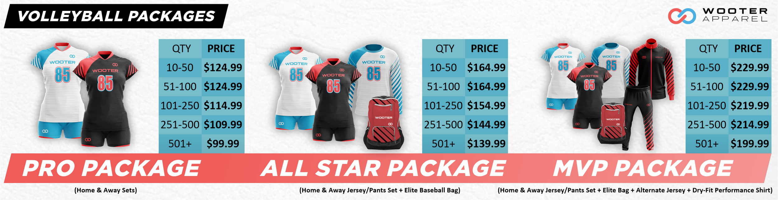 Wooter Apparel Volleyball Packages, Jerseys, Uniforms