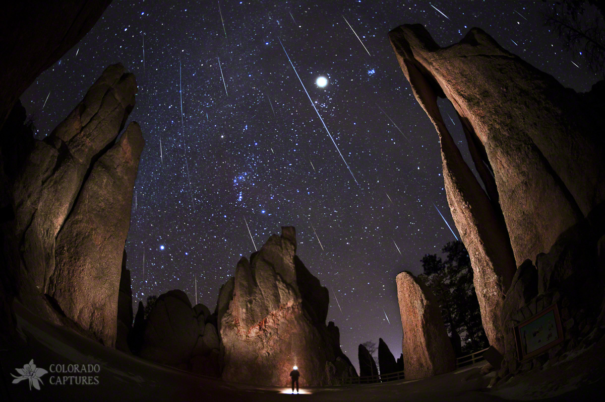 Painting The Needles Under The Geminids Meteor Shower