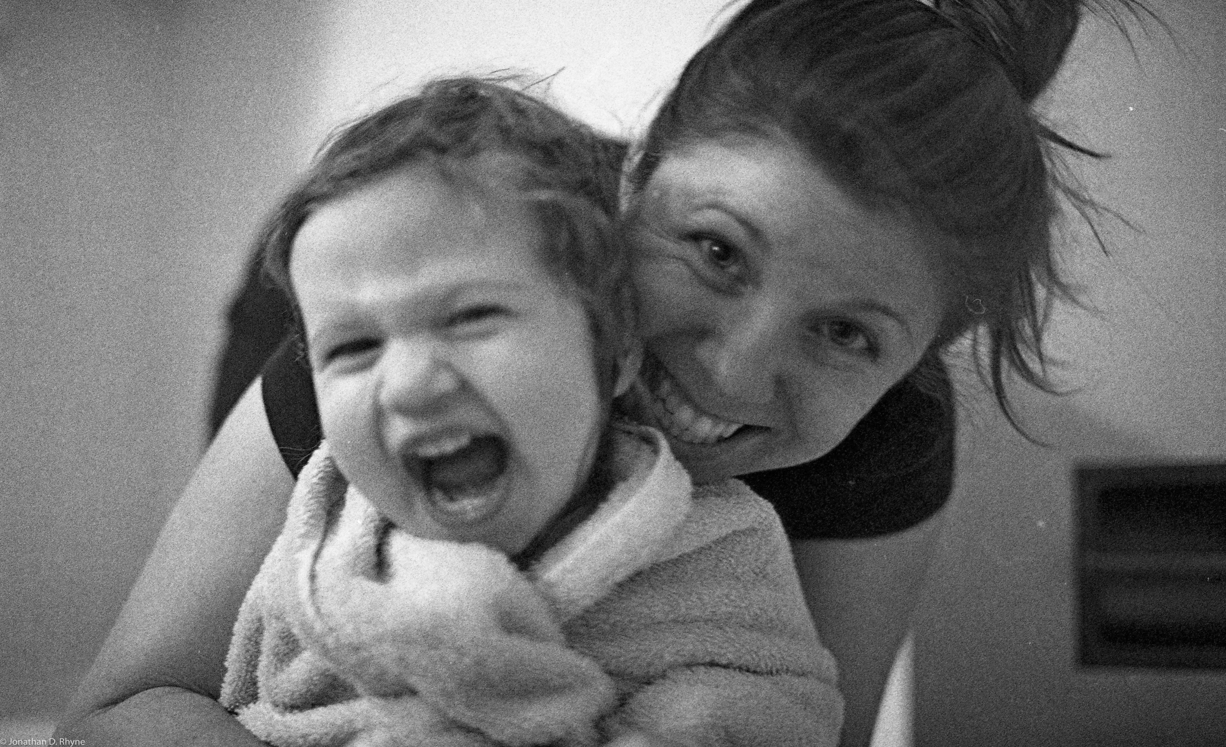 Mother Daughter.  Raleigh, NC - Nikon FM2 - Kodak Tri-X 400