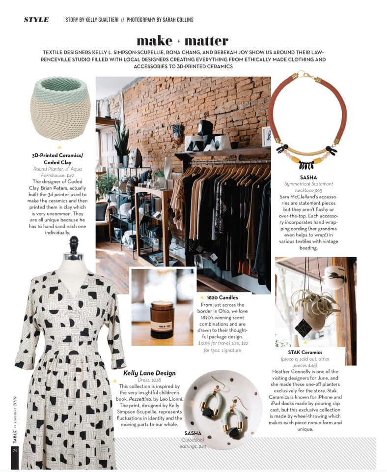 AS SEEN IN… - This month, Store-ies was featured in TABLE Magazine Summer 19 Style Editorial. We further spoke with the owners of Make + Matter on the benefits of Pittsburgh and efforts to bring all things local to their charming studio.