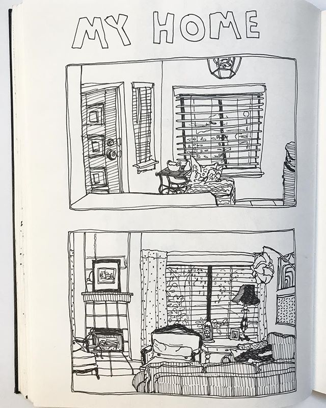 The beginning of a series I'm working on in my sketchbook depicting all the rooms in my house. Stay tuned for the complete series!