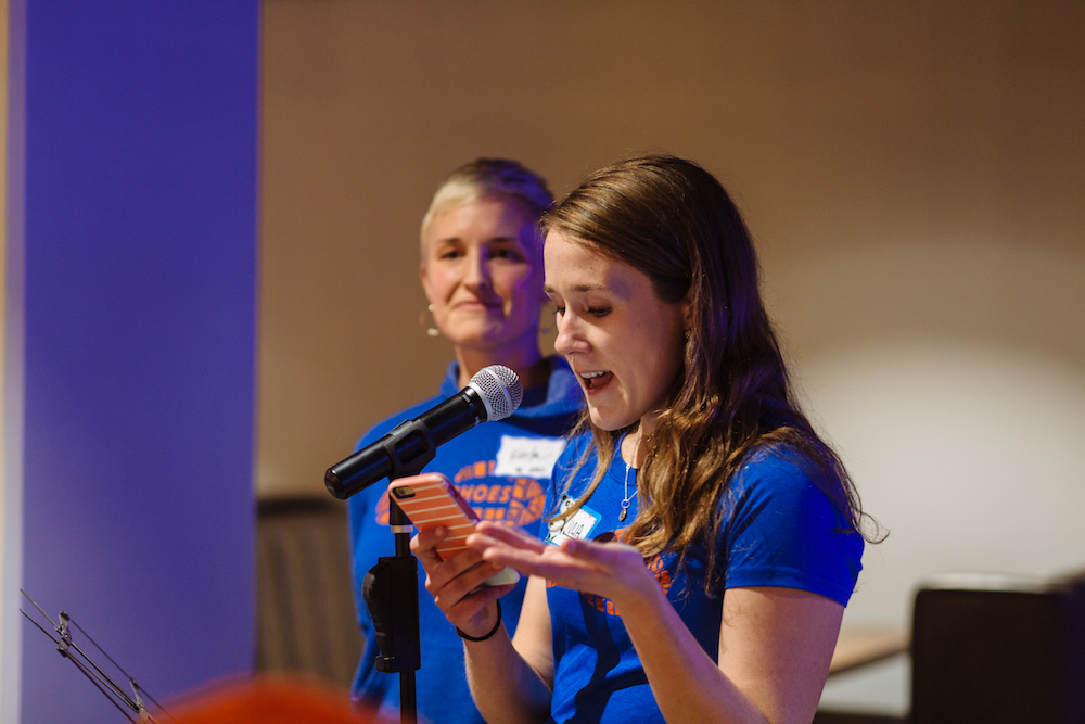 Team Leaders Krista (speaking) and Julia at the 2017 MiMSies