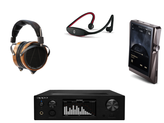 Different audio equipment, such as headphones, Bluetooth headphones, amplifiers, and portable music devices.