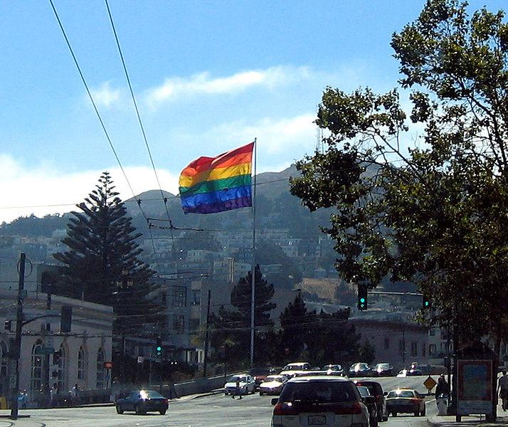 """ Gay Pride flag above Harvey Milk Plaza in The Castro neighborhood "" (wikipedia)"
