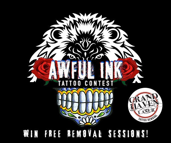"""Enter to WIN $2,500 in laser tattoo treatments from Grand Haven Laser Tattoo Removal! Join our Awful Ink Tattoo Contest group here on Facebook, post your story about why you want your tattoo removed and a photo of your tattoo (no larger than 5"""" x 5"""") and you're entered to win! We have a panel of local judges that will choose the winner. The contest runs through the rest of the summer and the winner will be announced on September 1st. We can't wait to see your Awful Ink and hear your stories! Good luck! #grandhaven"""