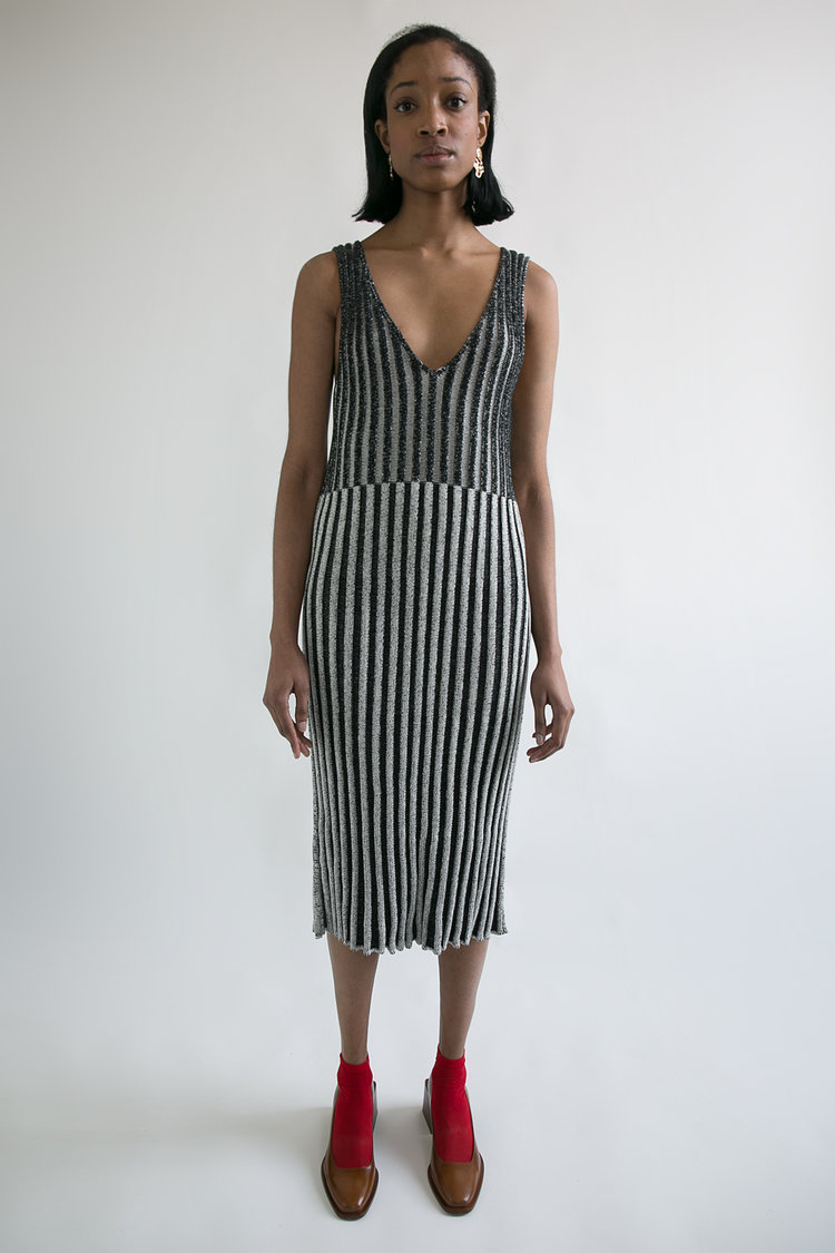 Striped Two Tone Knit Dress  S M  $380