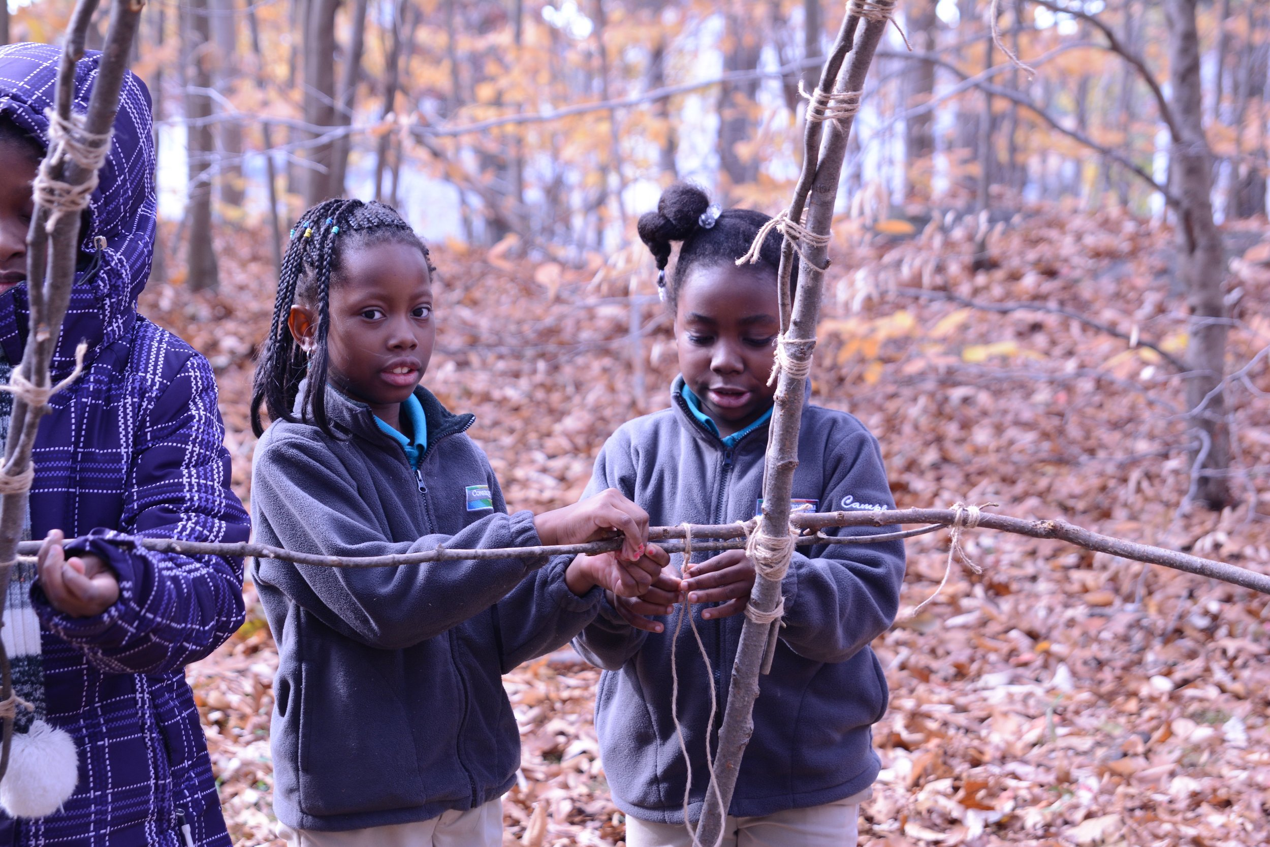 4th graders build wetus for an expedition about the Wampanoag Indians.