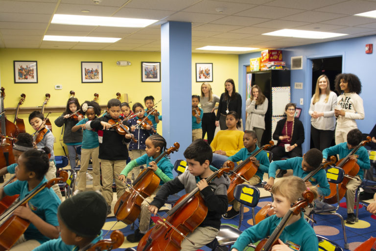 Esperanza Spalding at Conservatory Lab with the second-grade orchestra named for her.