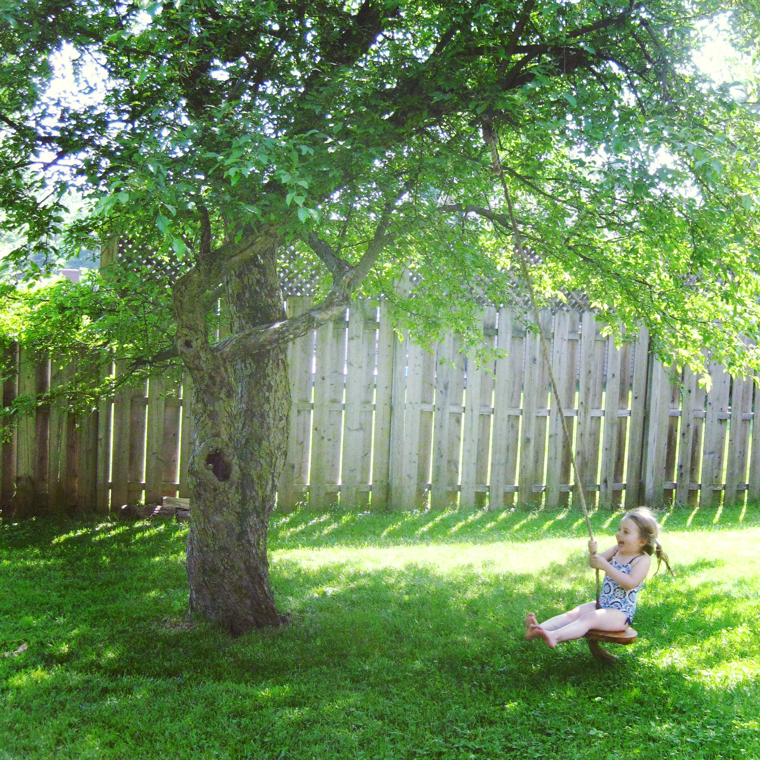 "My daughter swinging - she named this crabapple ""Moko"" and calls it her tree friend."