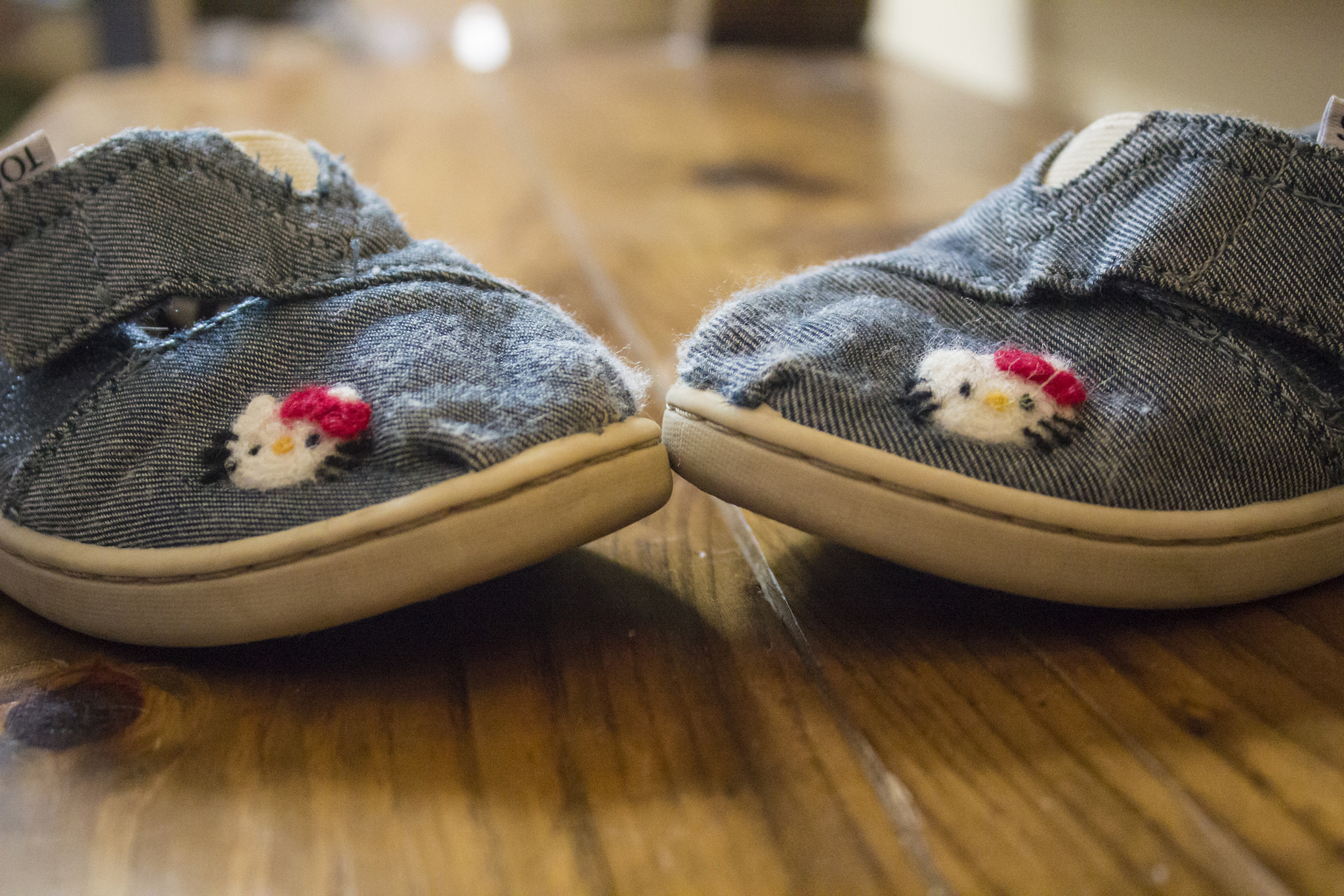 Felting on chambray Toms