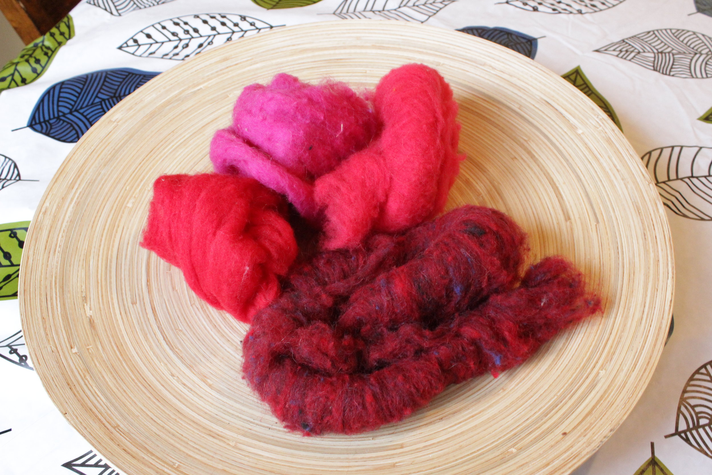 Red and pink wool batting.