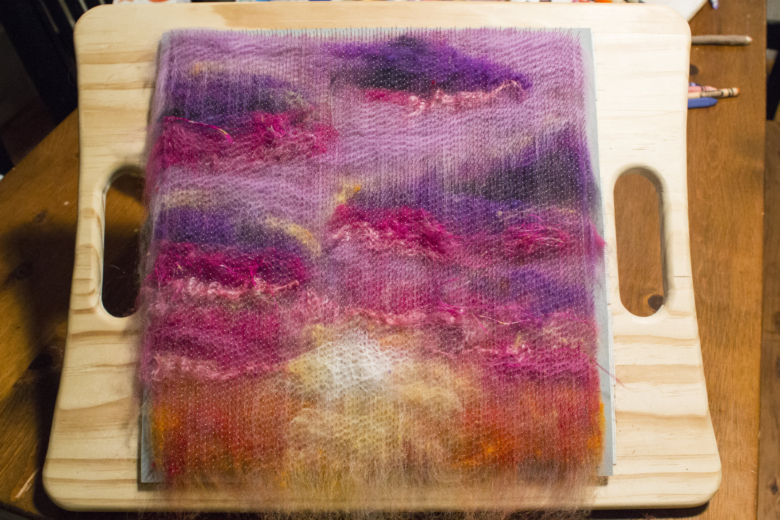"""Make sure you have a fairly even thickness across the board. You don't want gaps, and it's easier to end up with gaps using this """"wool-dabbing"""" method. I was careful to make sure there were overlapping layers of color."""